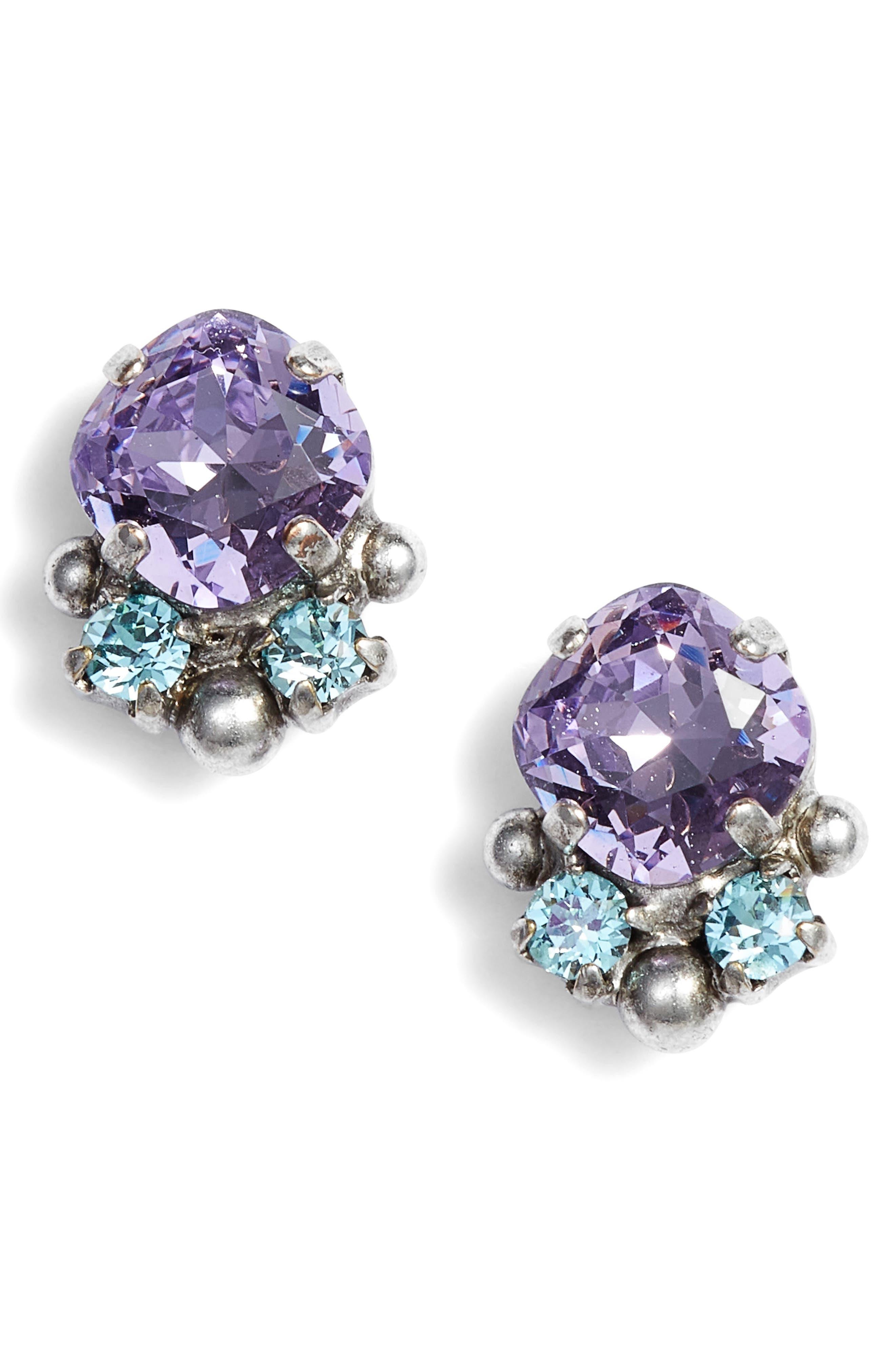 Cushion Cut Crystal Earrings,                         Main,                         color, Purple