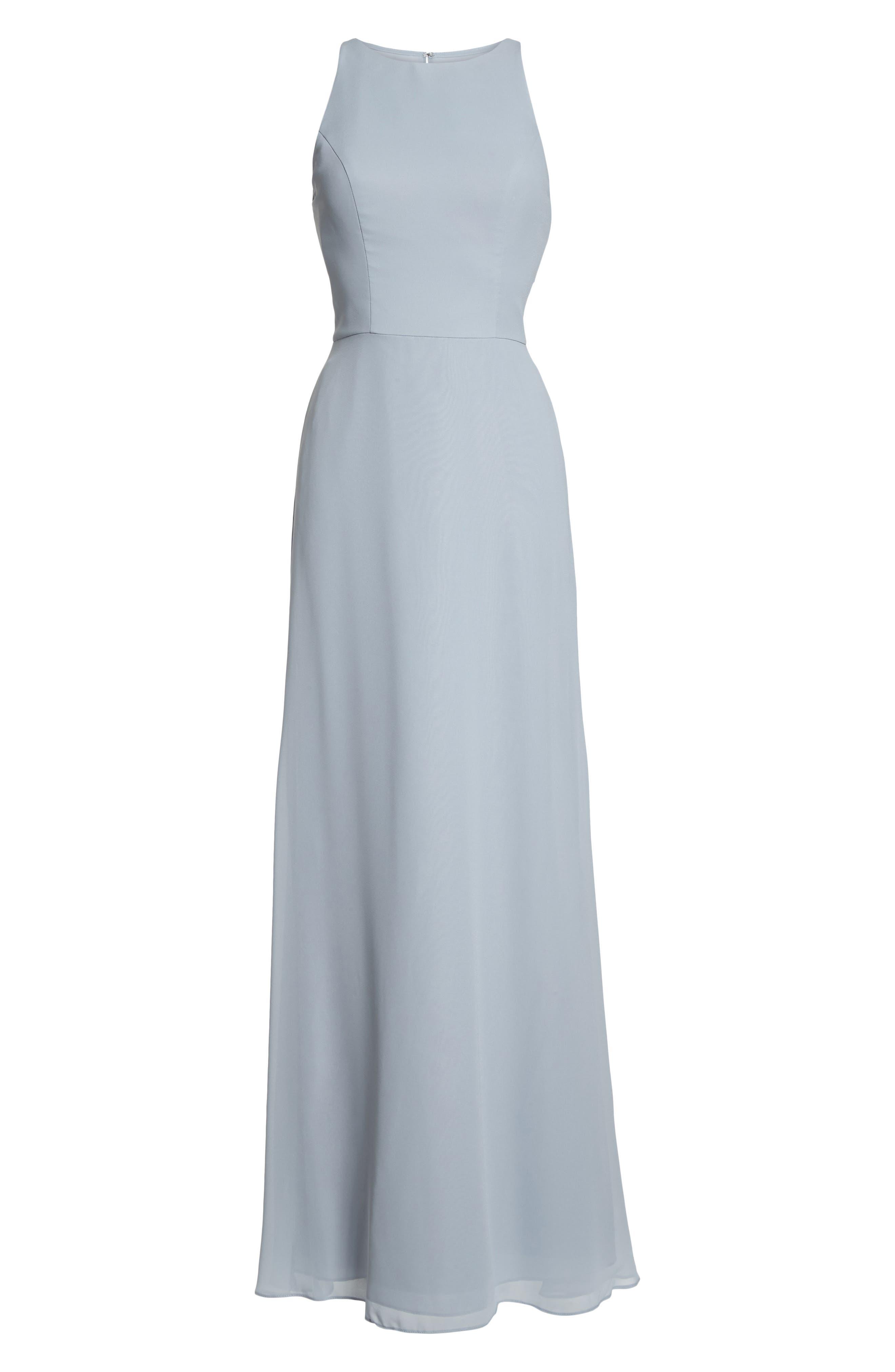 Crewneck Chiffon Gown,                             Alternate thumbnail 6, color,                             Platinum