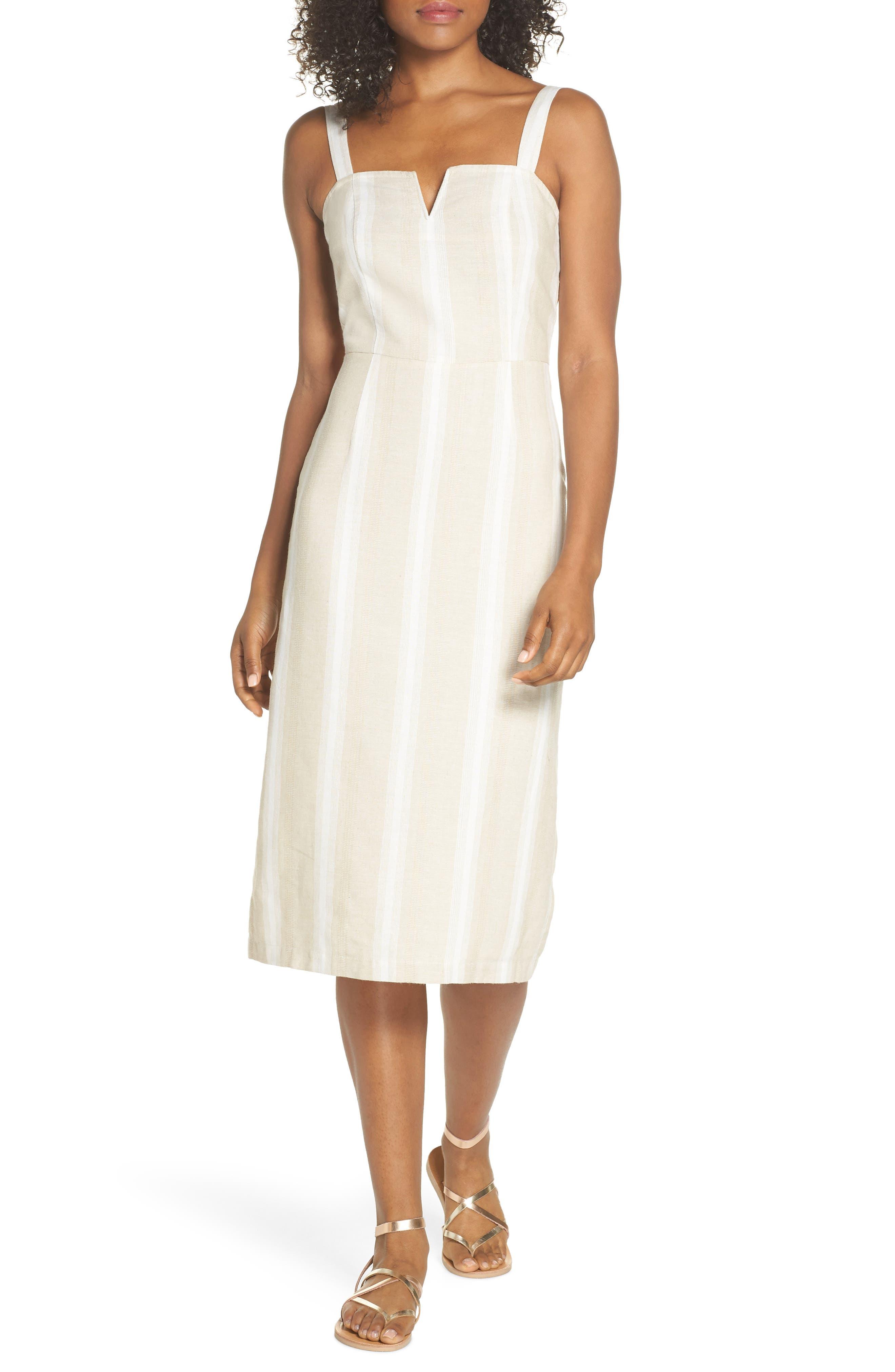 Peekabo Stripe Midi Dress,                             Main thumbnail 1, color,                             Sand