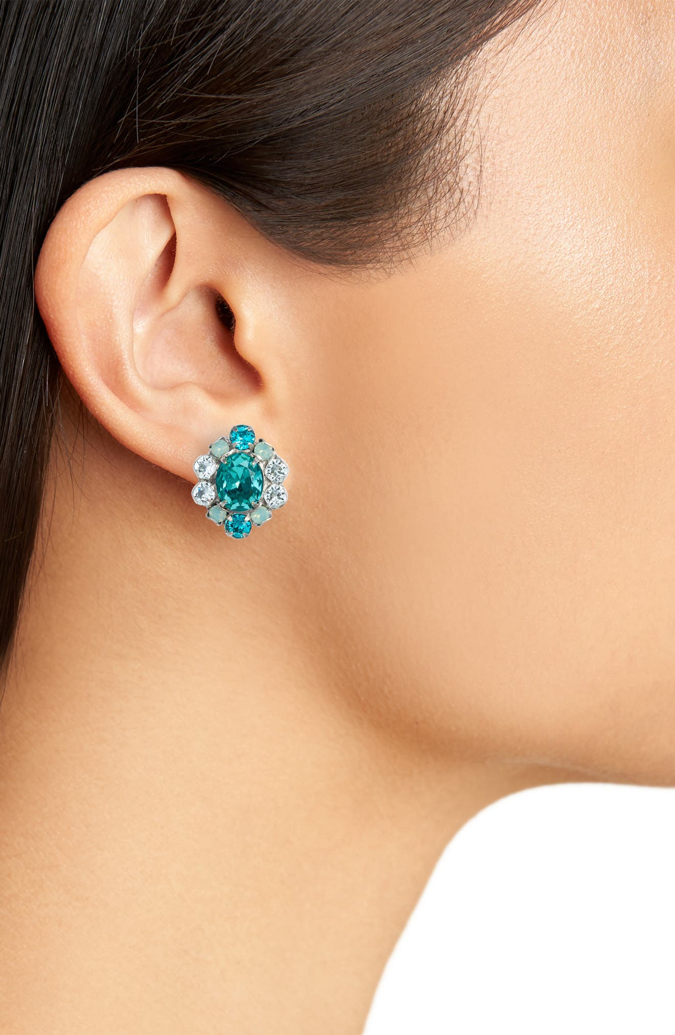 Sundrop Crystal Earrings,                             Alternate thumbnail 2, color,                             Blue-Green