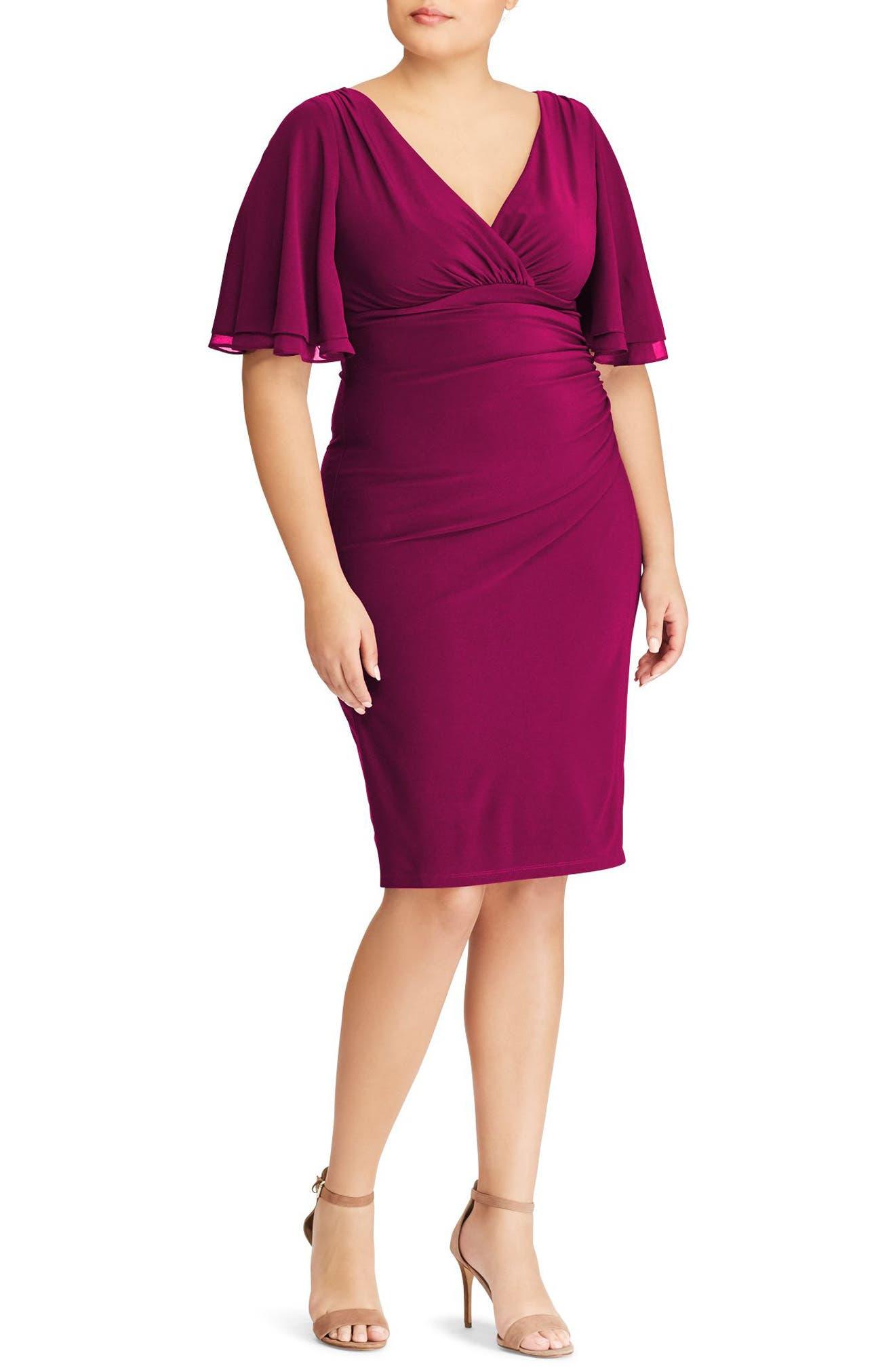 Lauren Ralph Lauren Mildia Ruched Flutter Sleeve Dress (Plus Size)