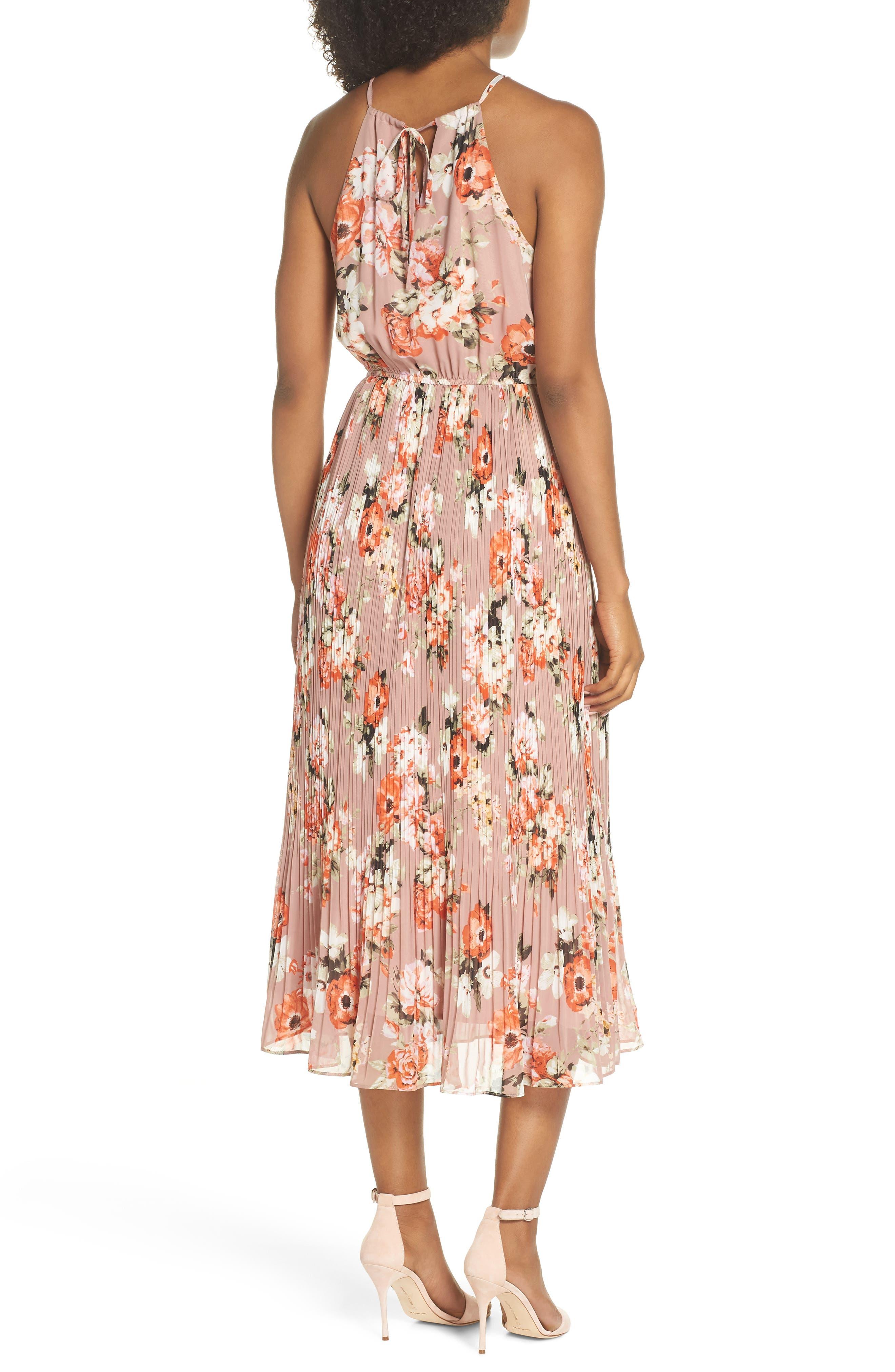 Floral Pleated Halter Dress,                             Alternate thumbnail 2, color,                             Mauve