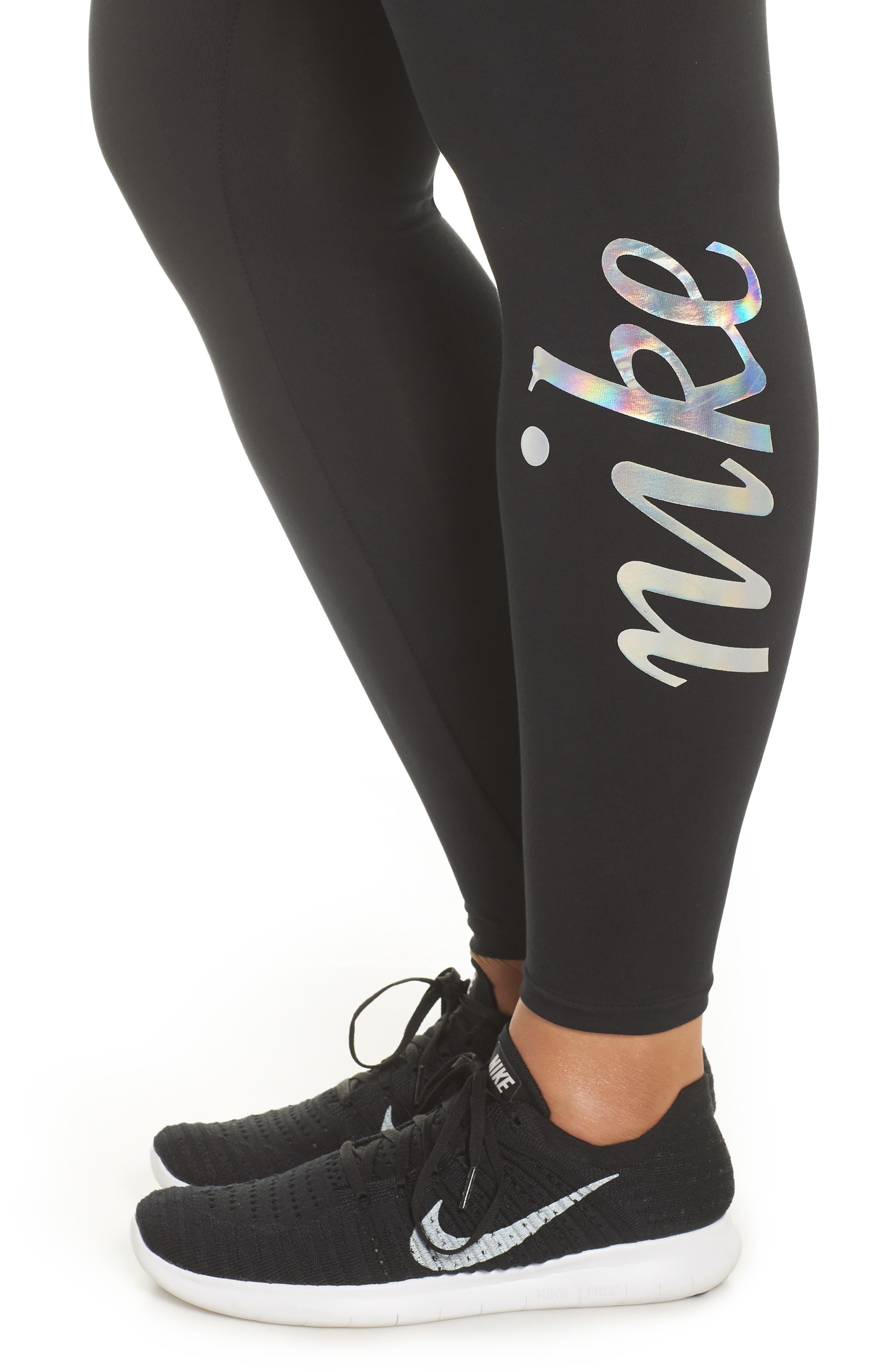 Sportswear Metallic Logo Leggings,                             Alternate thumbnail 4, color,                             Black/ Black