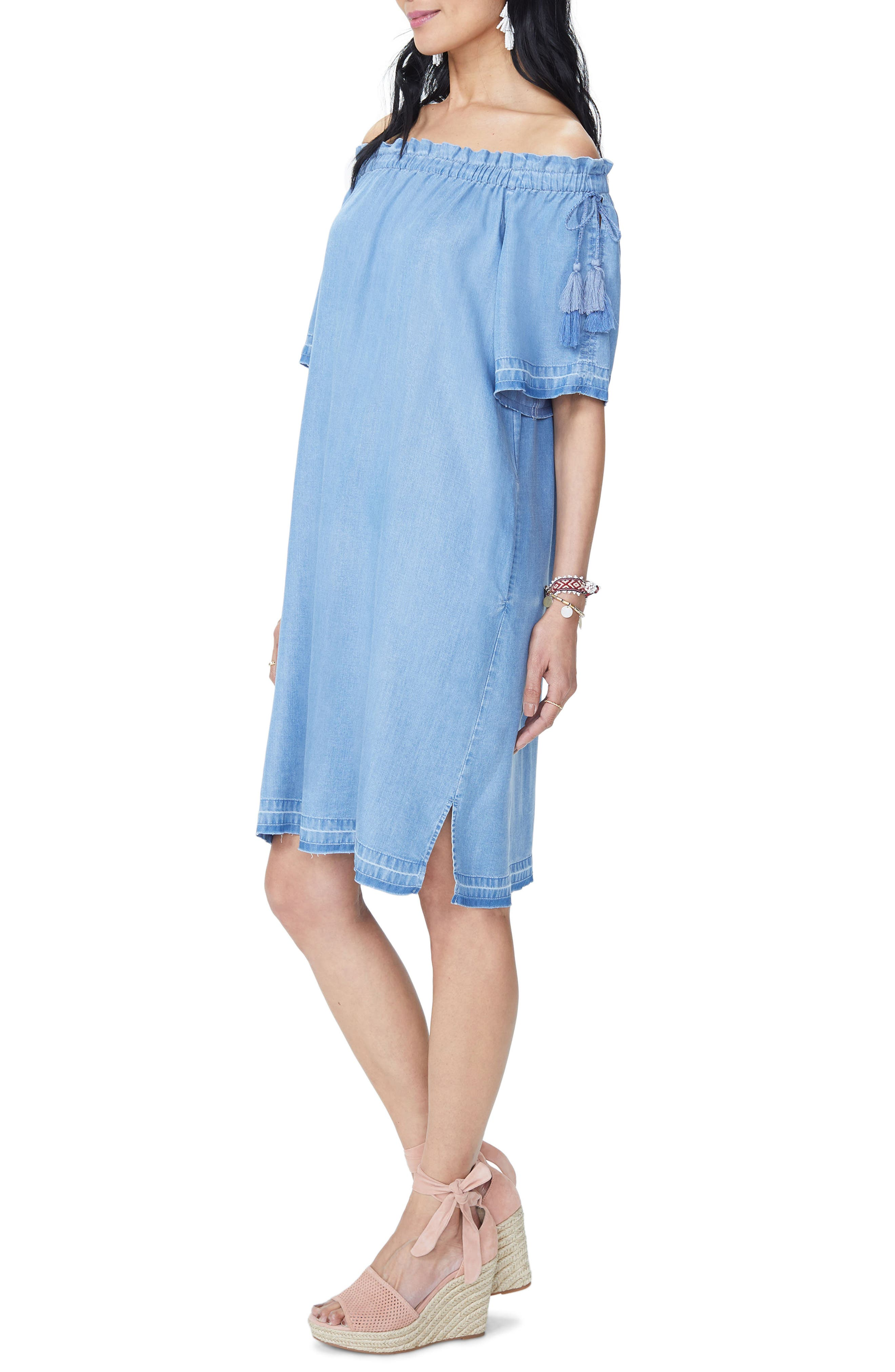 Off the Shoulder Tassel Tie Chambray Dress,                             Alternate thumbnail 3, color,                             Low Tide Wash