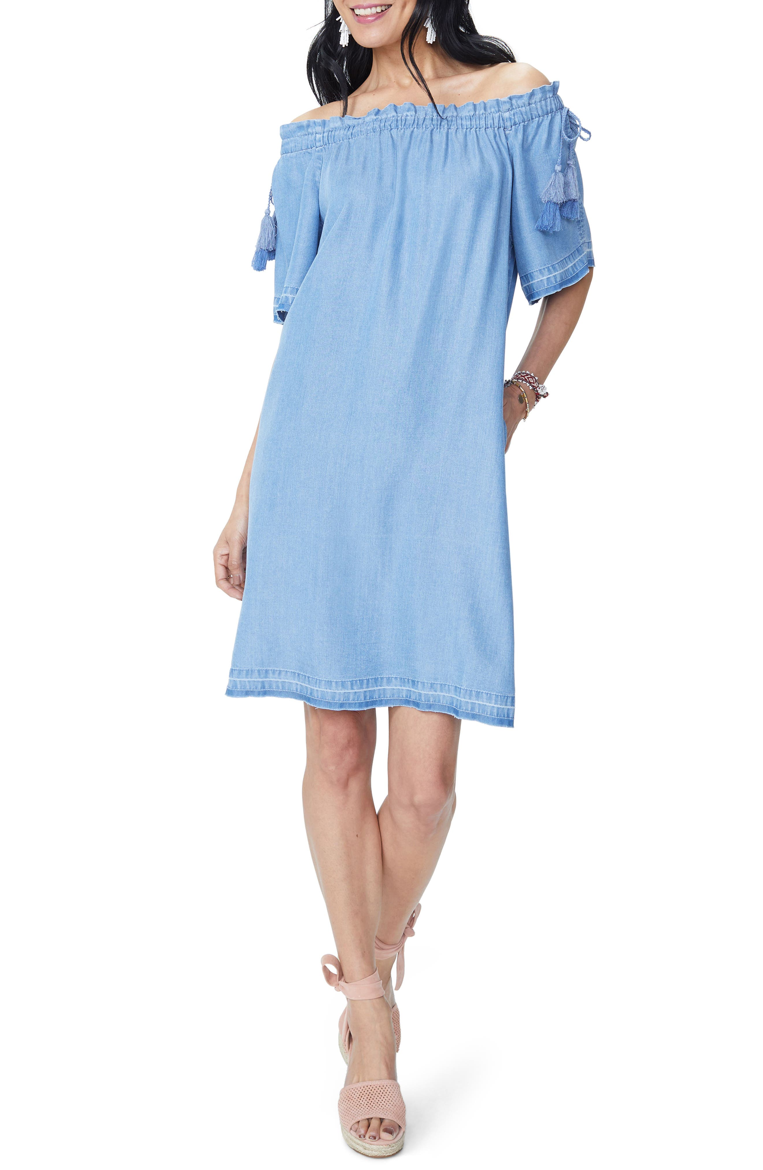 Off the Shoulder Tassel Tie Chambray Dress,                             Main thumbnail 1, color,                             Low Tide Wash