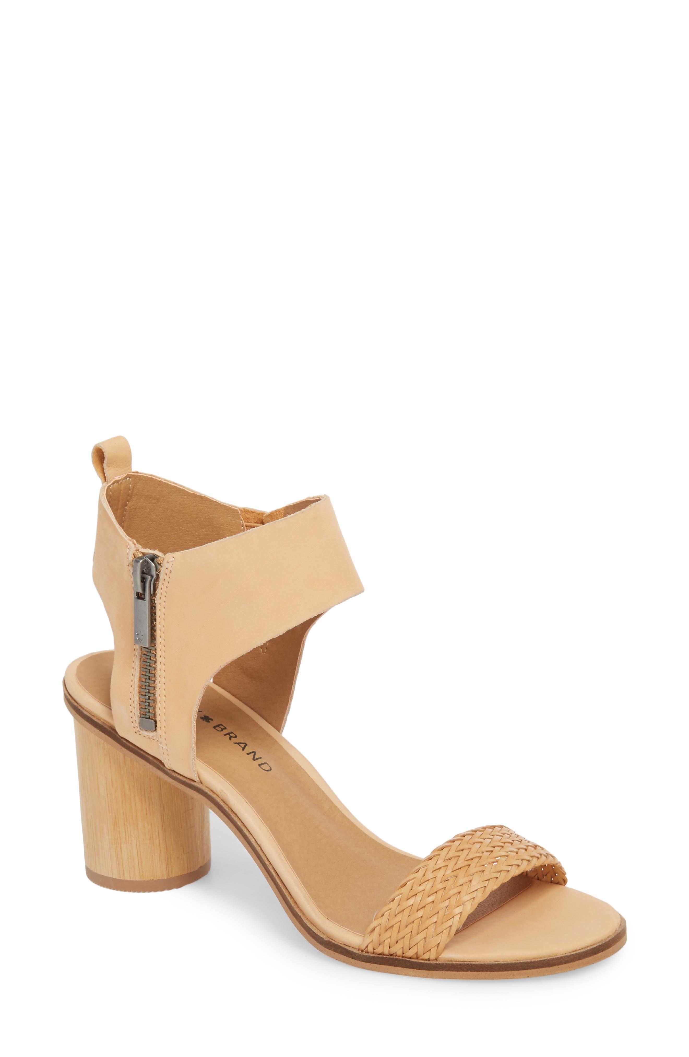 Pomee Sandal,                         Main,                         color, Sandy Leather
