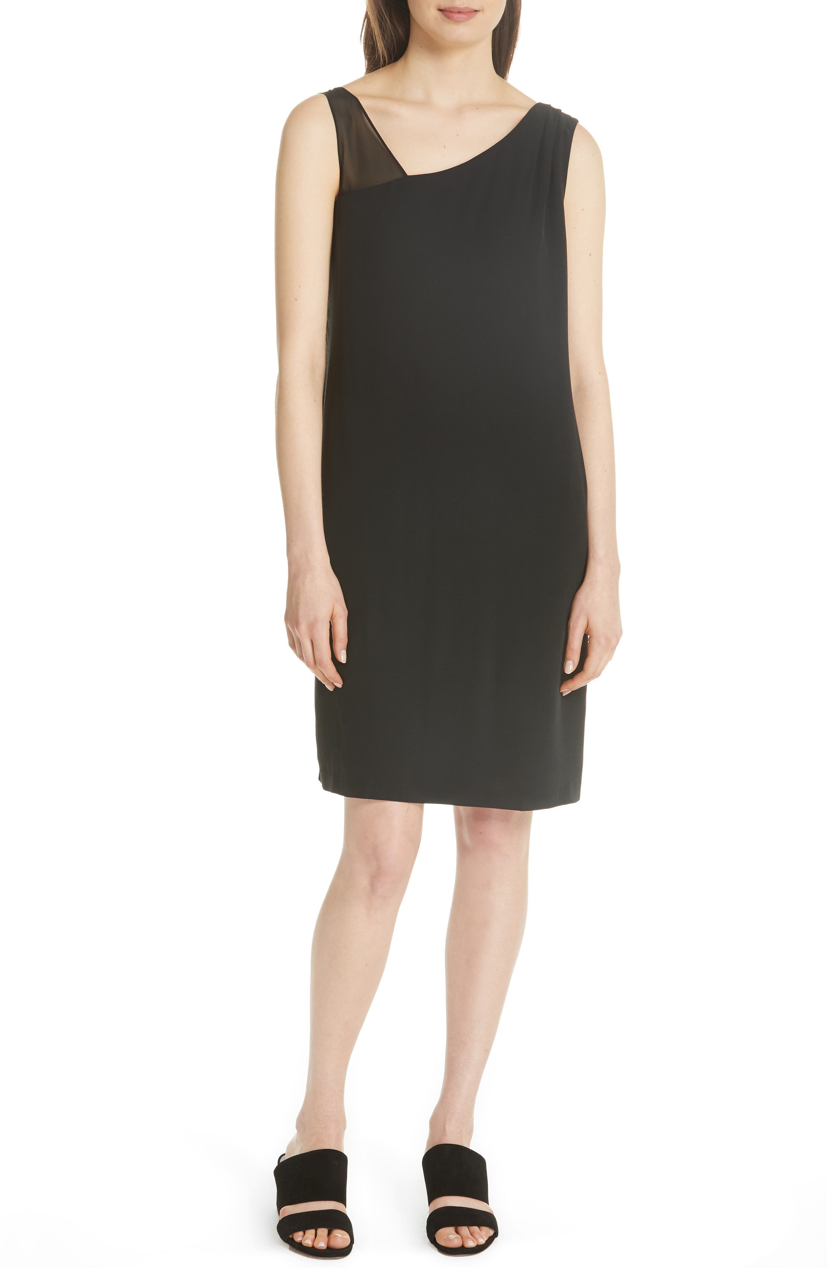 Sheer Strap Silk Shift Dress,                         Main,                         color, Black