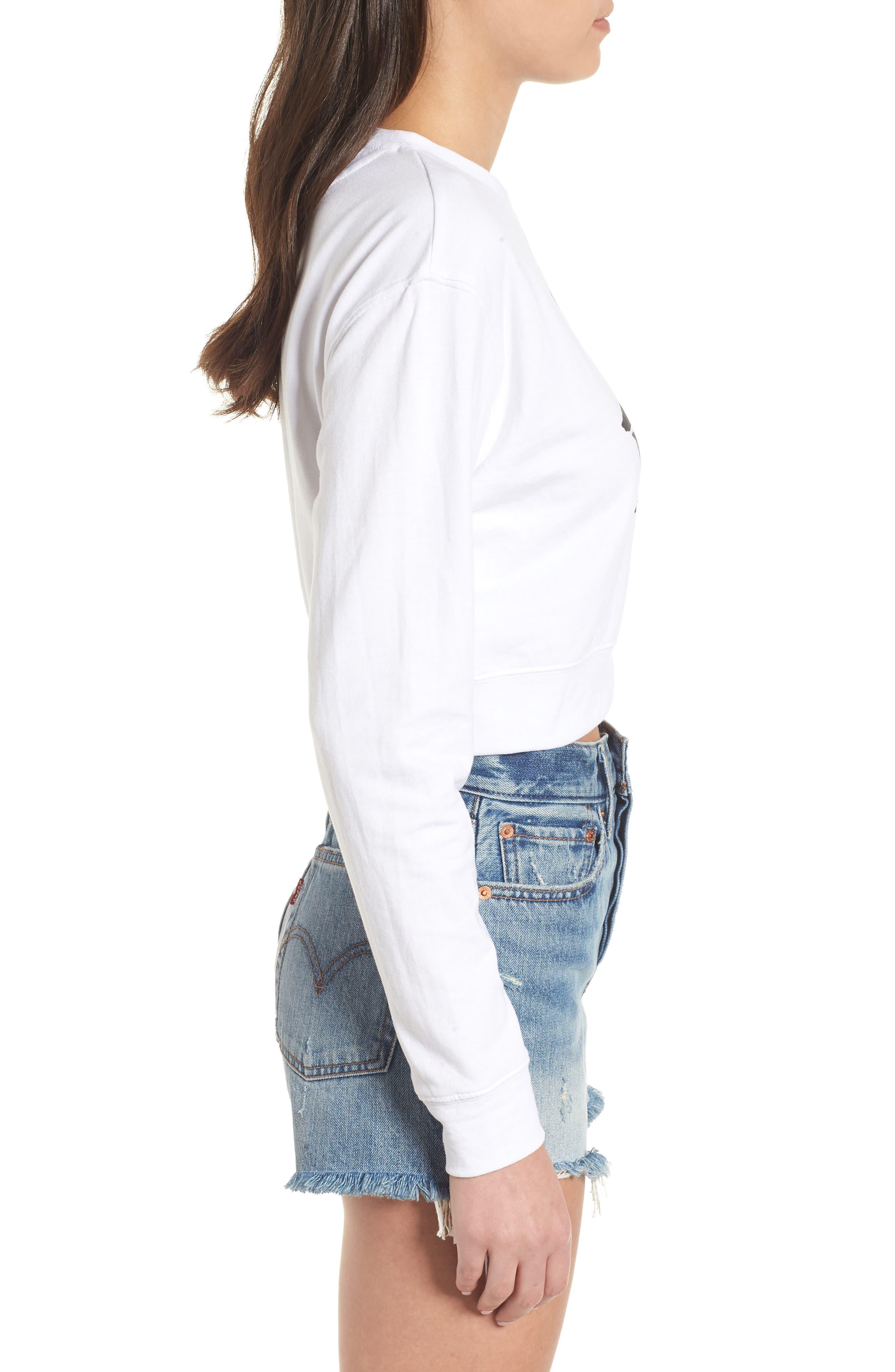 Bamm Bamm Crop Sweatshirt,                             Alternate thumbnail 3, color,                             White