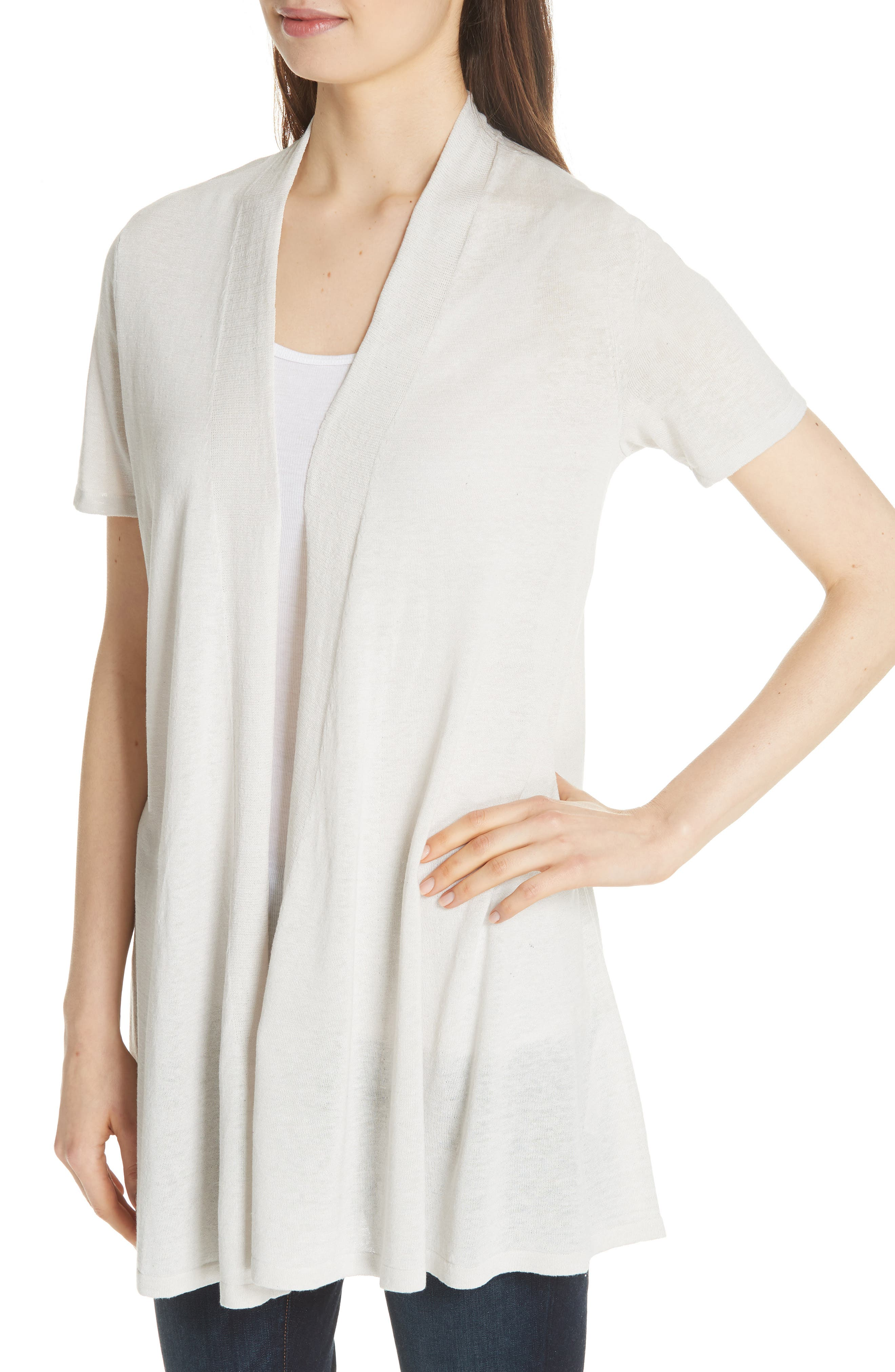 Short Sleeve Silk & Organic Linen Cardigan,                             Alternate thumbnail 2, color,                             Bone
