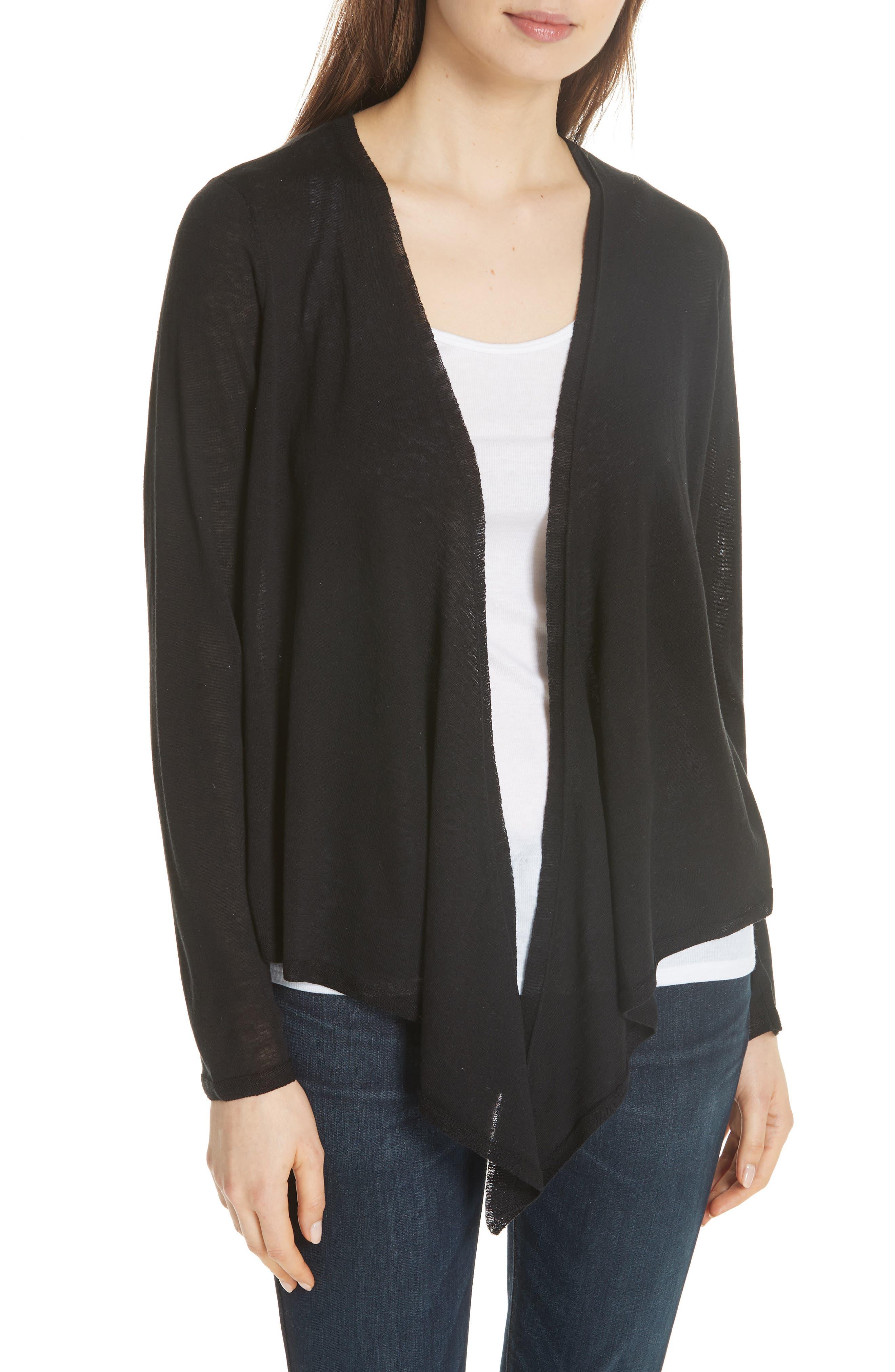 Angle Front Silk Blend Cardigan,                             Main thumbnail 1, color,                             Black