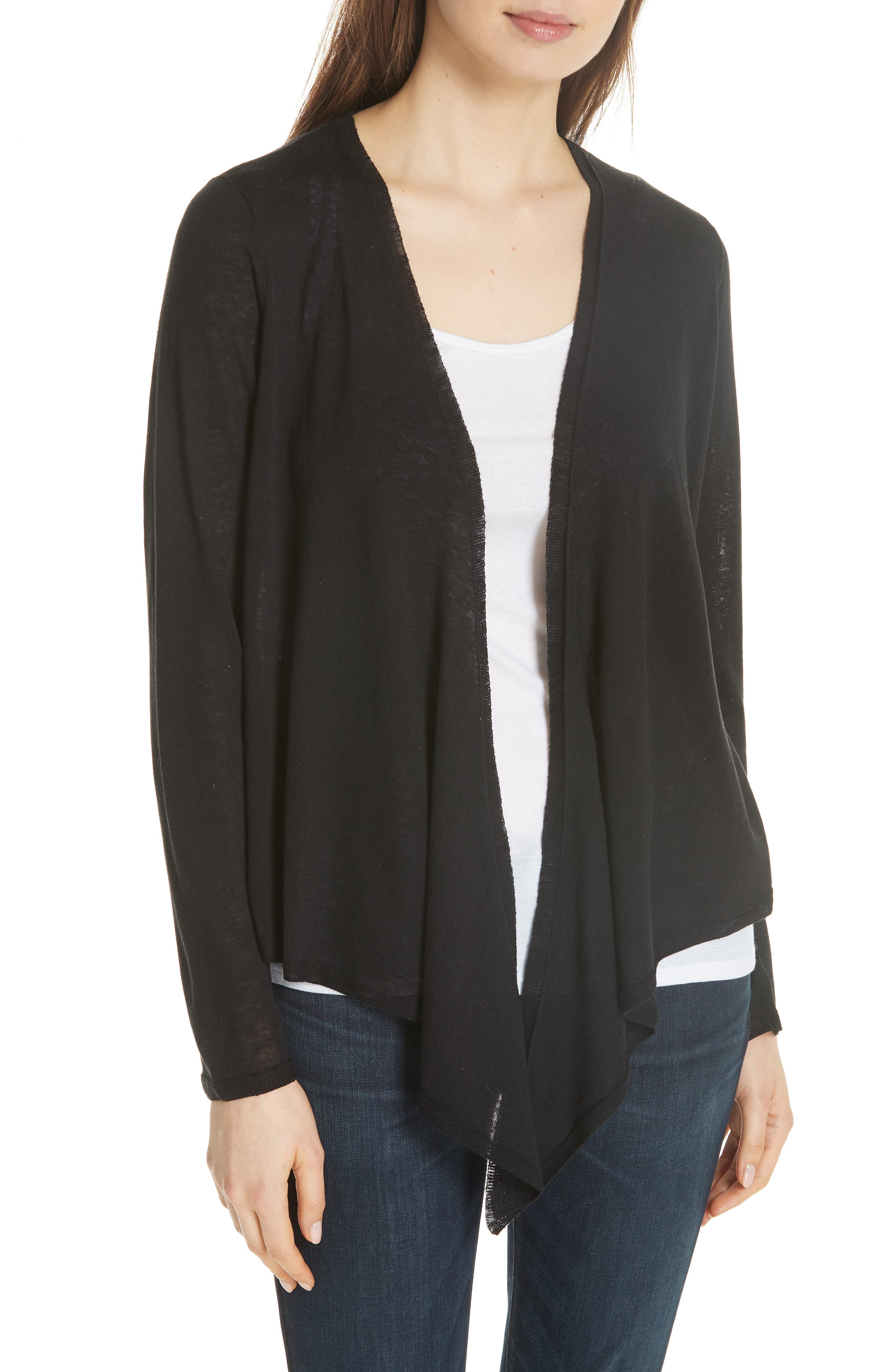 Angle Front Silk Blend Cardigan,                         Main,                         color, Black