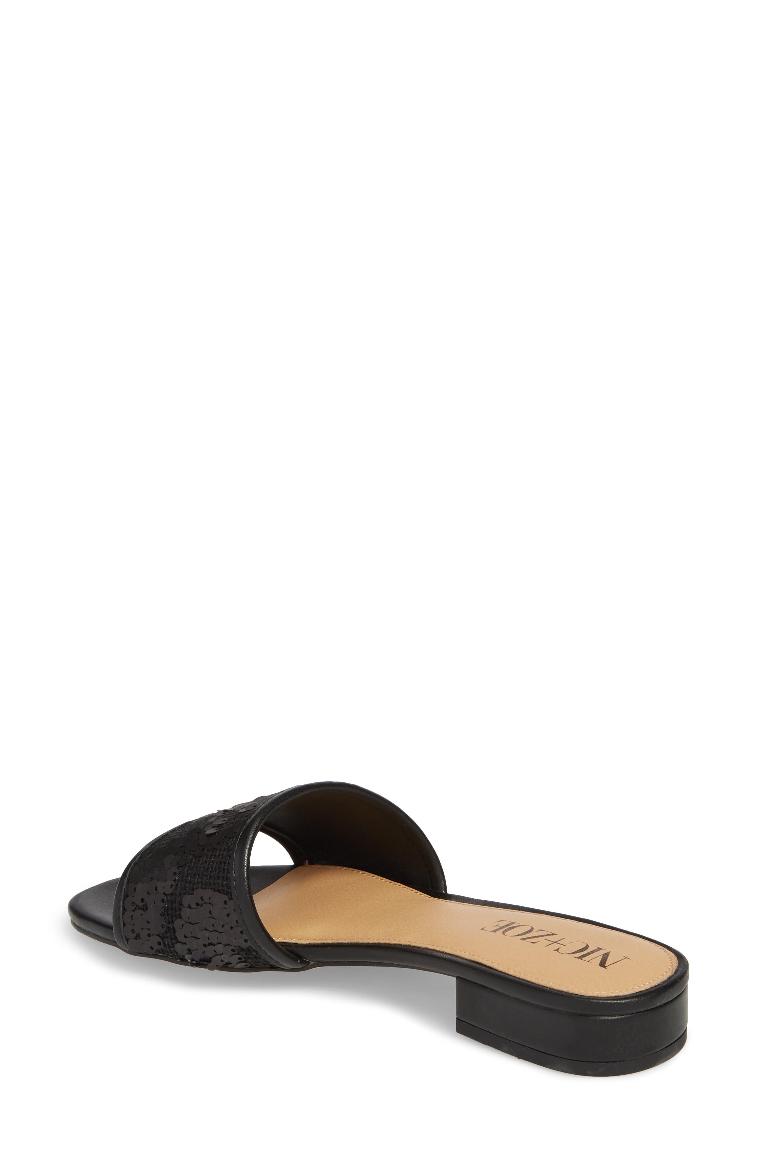 NIC + ZOE Sandy Sequin Low Heel Slide,                             Alternate thumbnail 2, color,                             Black Fabric