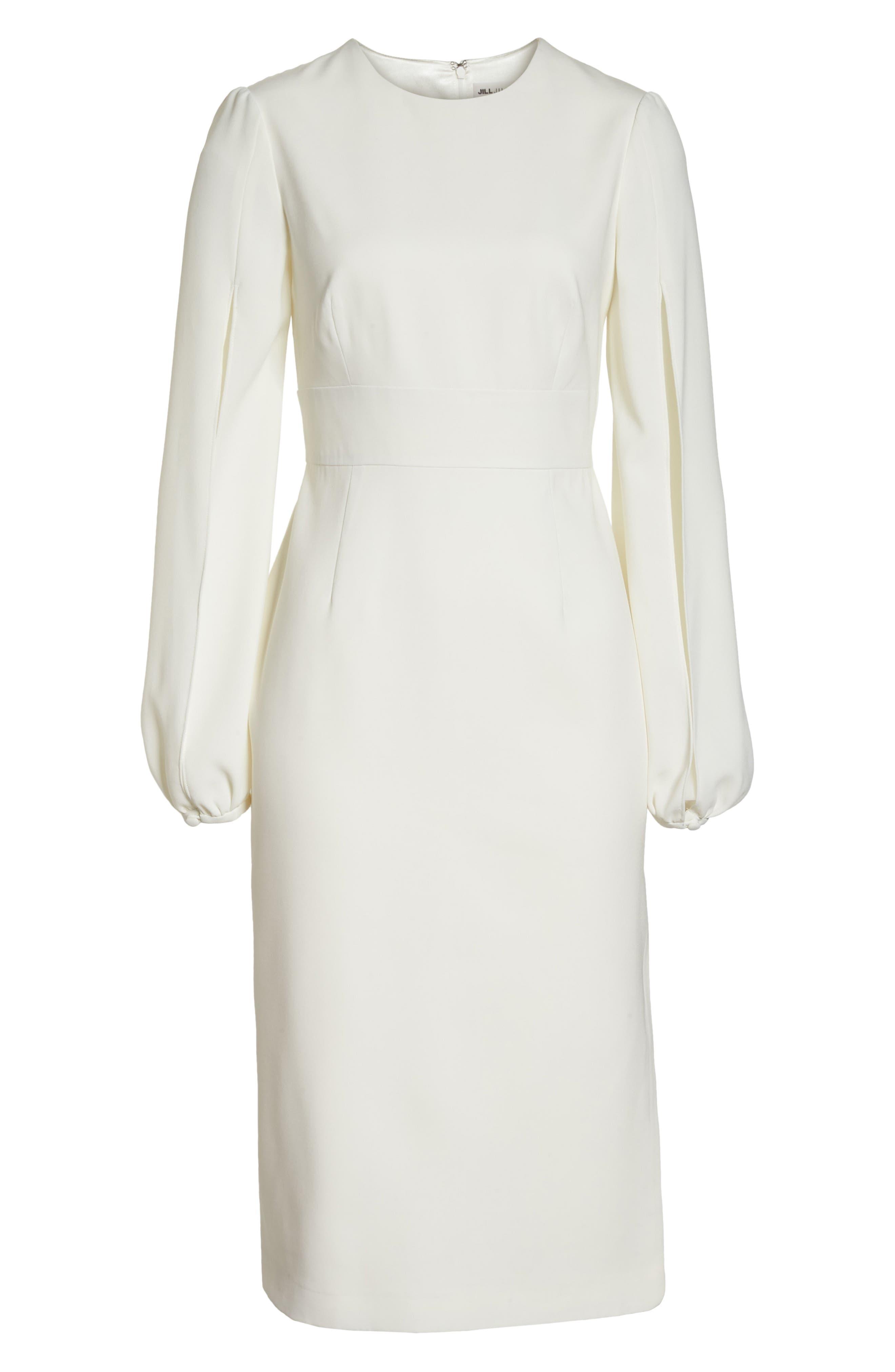 Slit Sleeve Sheath Dress,                             Alternate thumbnail 6, color,                             Off-White