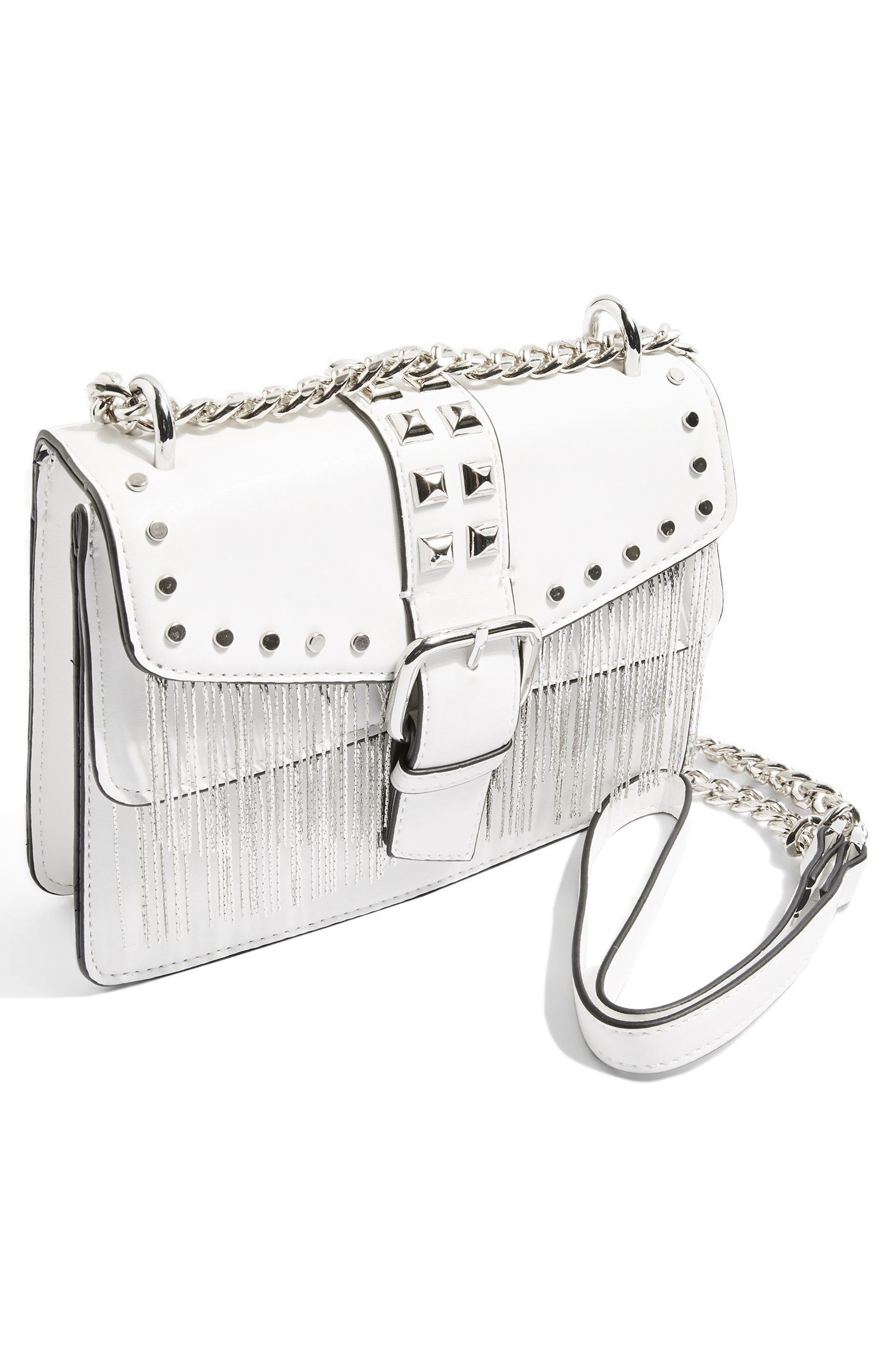 Shelby Studded Faux Leather Crossbody Bag,                             Alternate thumbnail 4, color,                             White