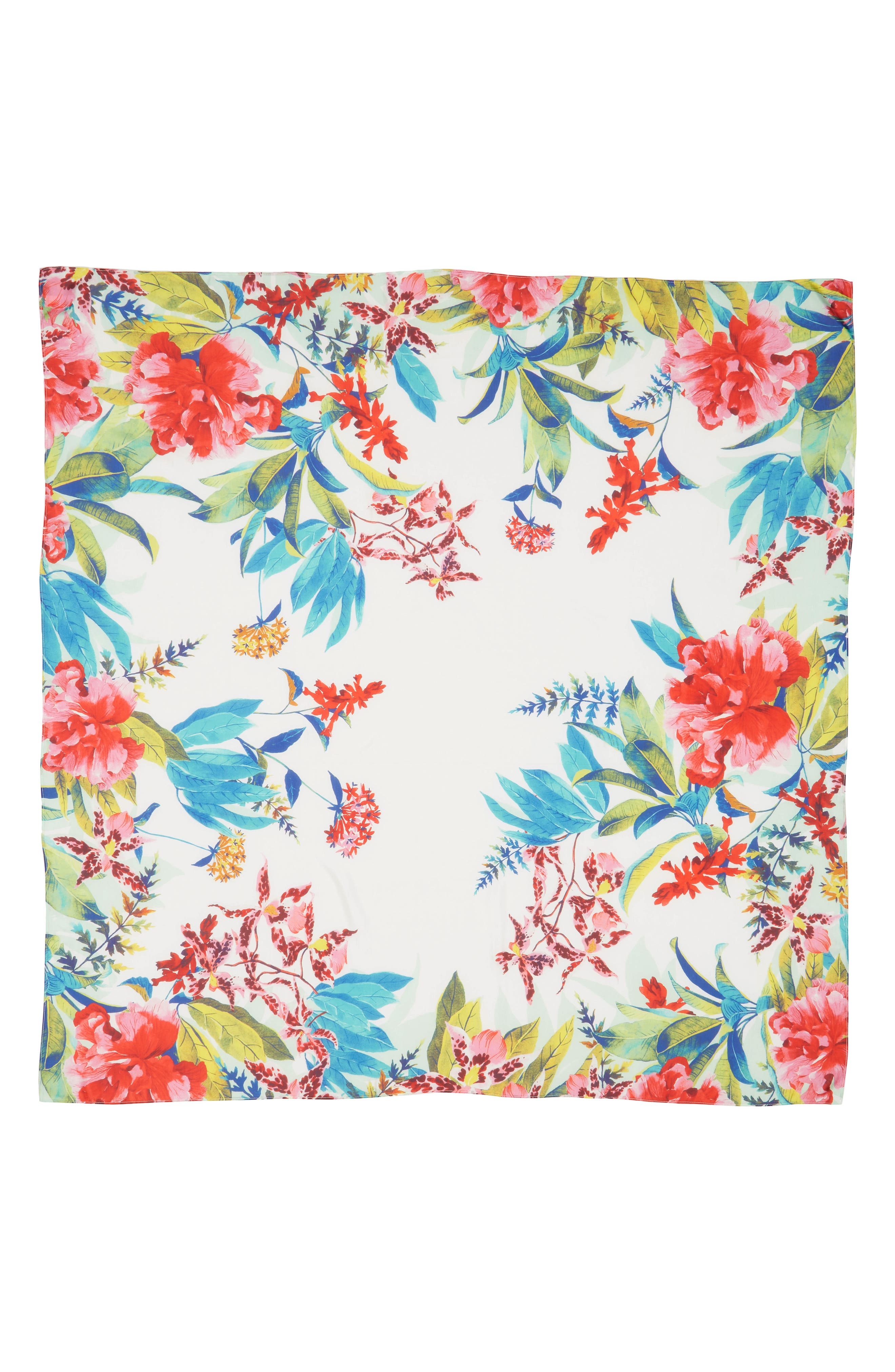 Oversized Print Square Scarf,                             Alternate thumbnail 2, color,                             Pink Tropical Daydream