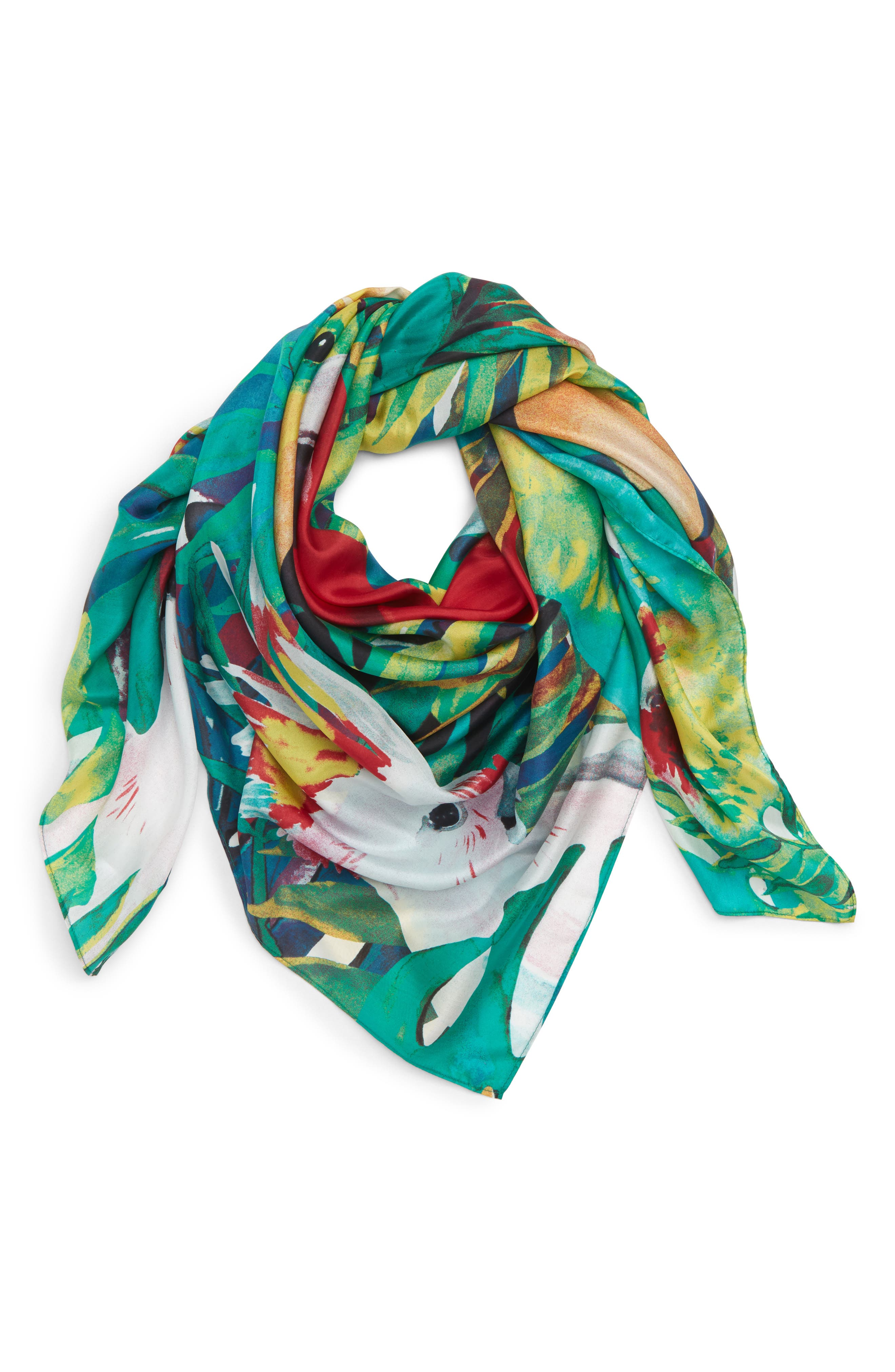Oversized Print Square Scarf,                             Main thumbnail 1, color,                             Yellow Birds Of Paradise
