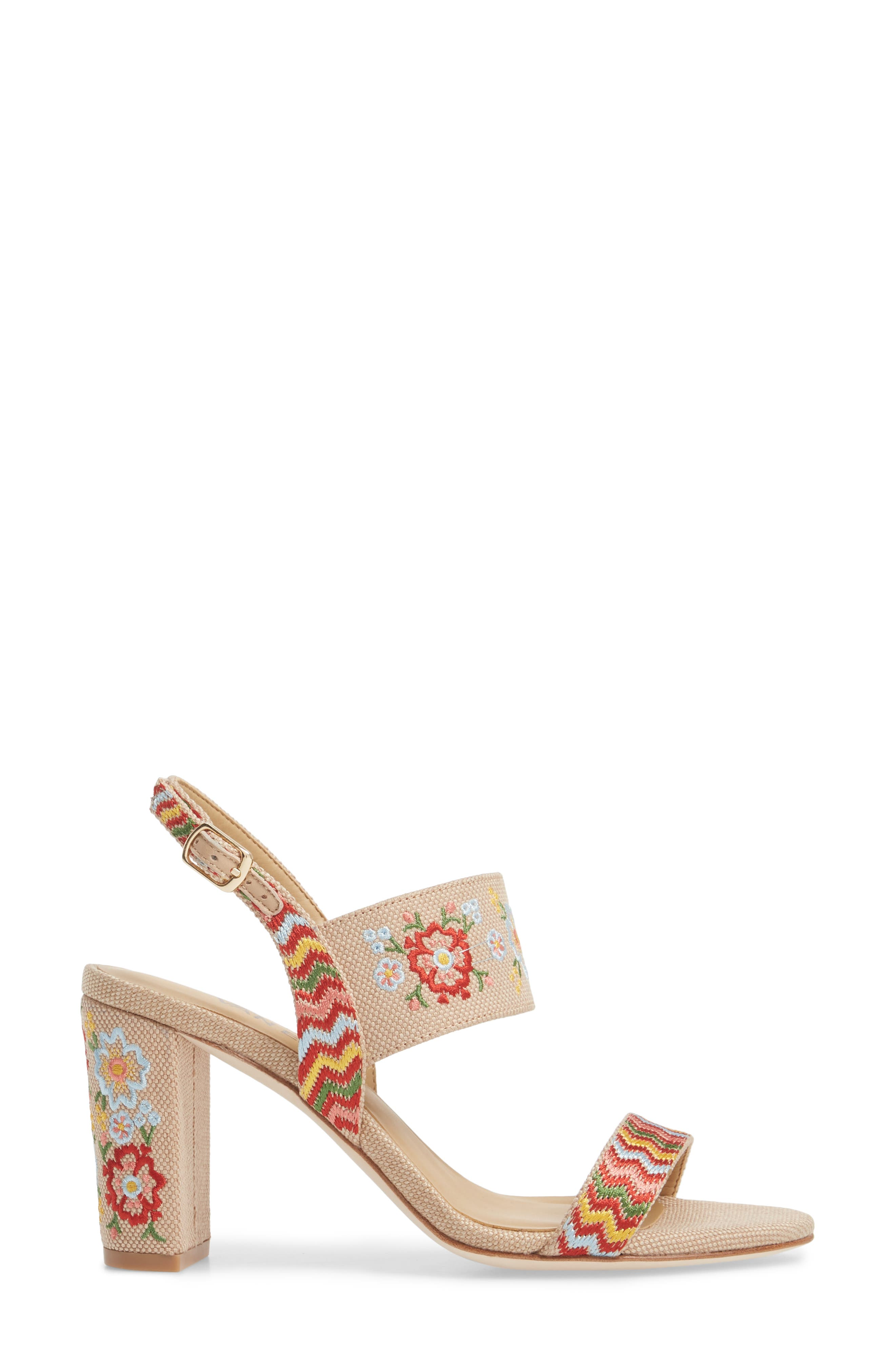 Biene Slingback Sandal,                             Alternate thumbnail 3, color,                             Natural Linen Fabric