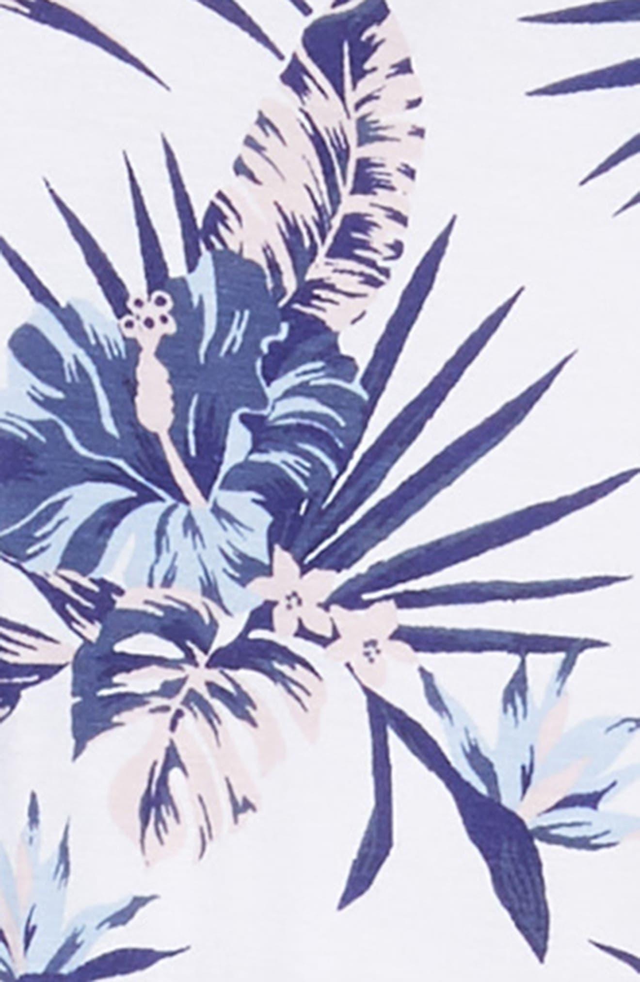 Floral Print Jumpsuit,                             Alternate thumbnail 3, color,                             White- Blue Tropical