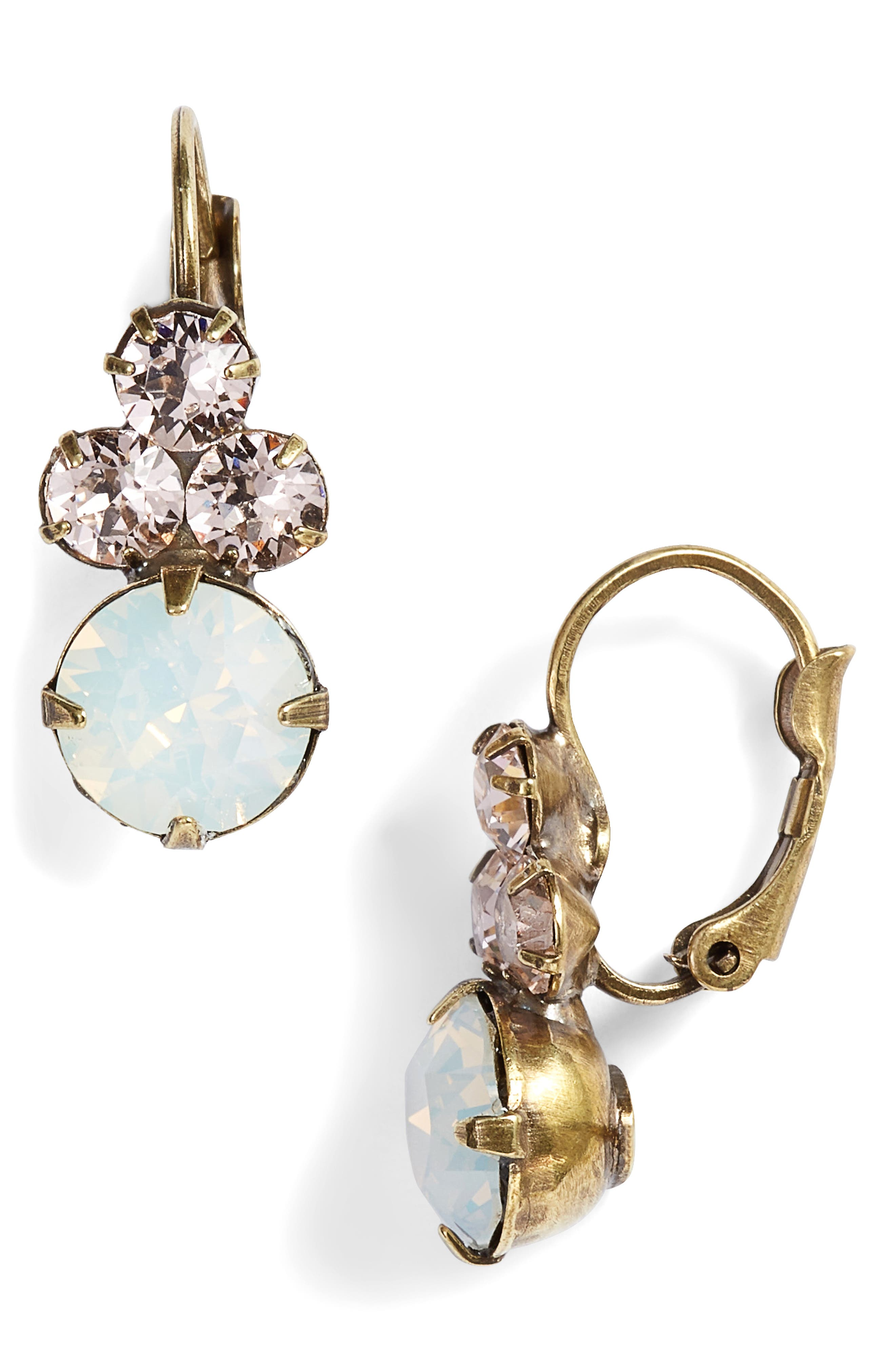 Wisteria Crystal Drop Earrings,                         Main,                         color, Pink/ White