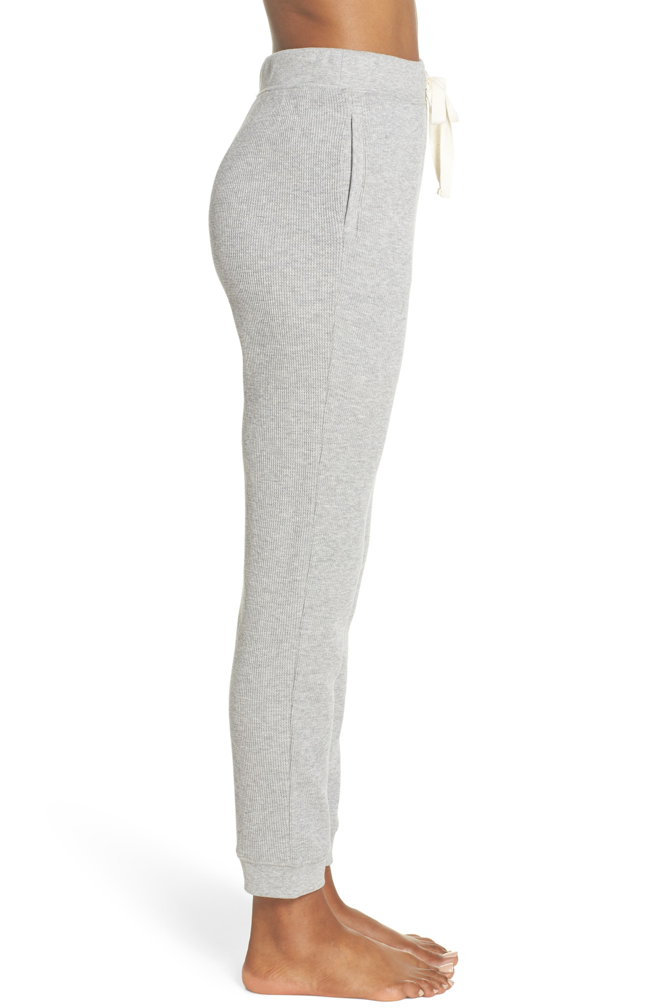 Edie Waffle Knit Lounge Pants,                             Alternate thumbnail 3, color,                             Heather Grey