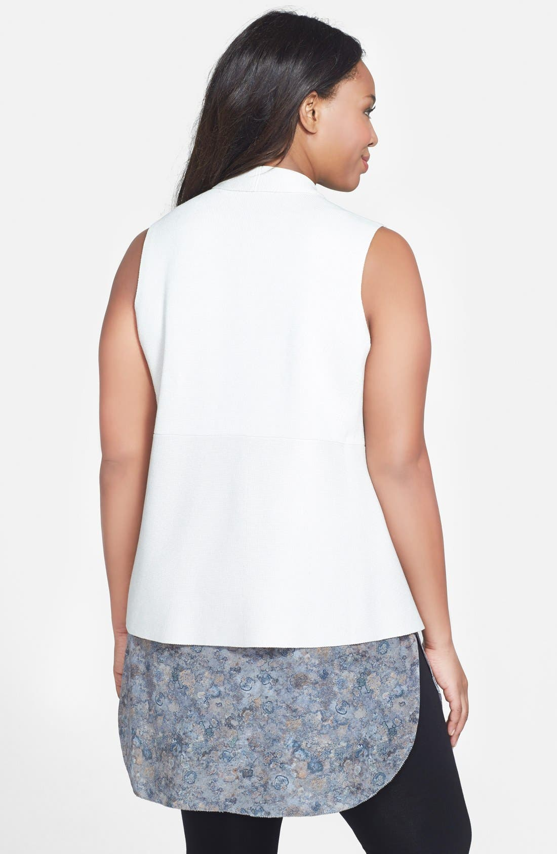 Alternate Image 2  - Eileen Fisher Angle Front Silk Blend Vest (Plus Size)