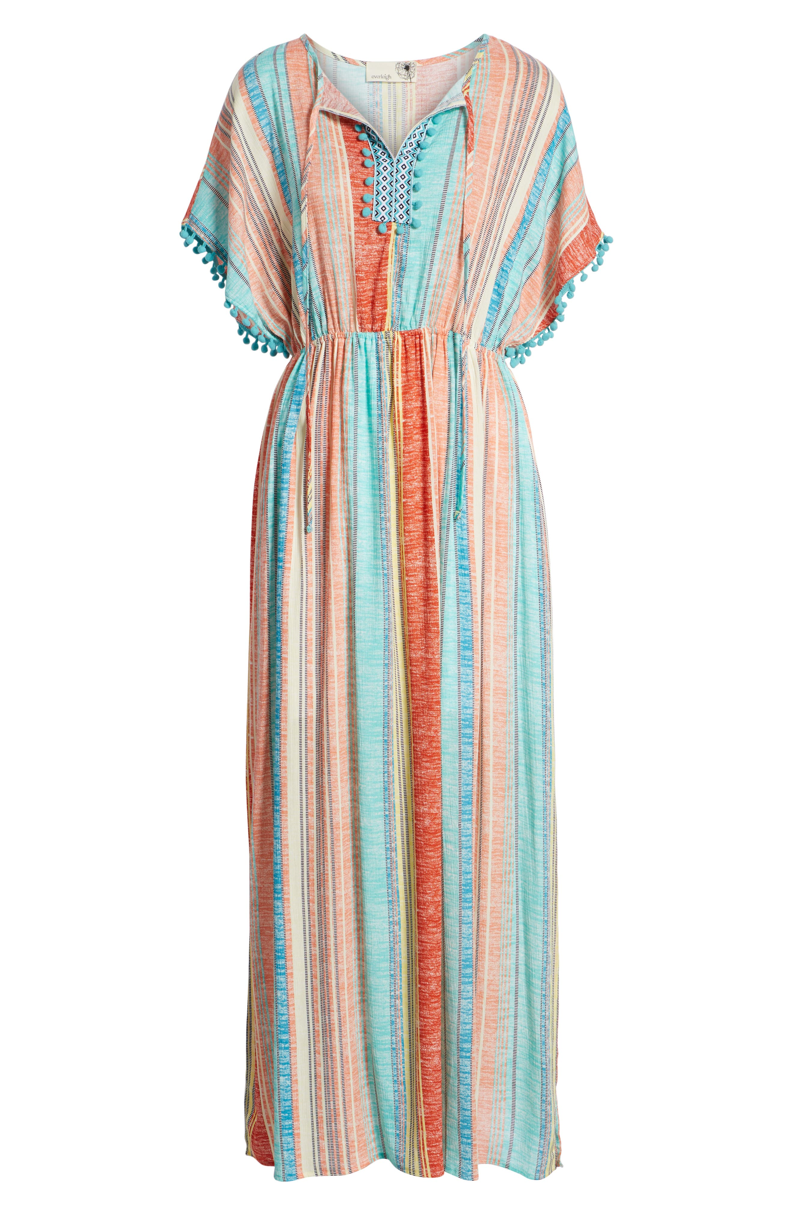 Stripe Pompom Trim Caftan,                             Alternate thumbnail 7, color,                             Coral Stripe