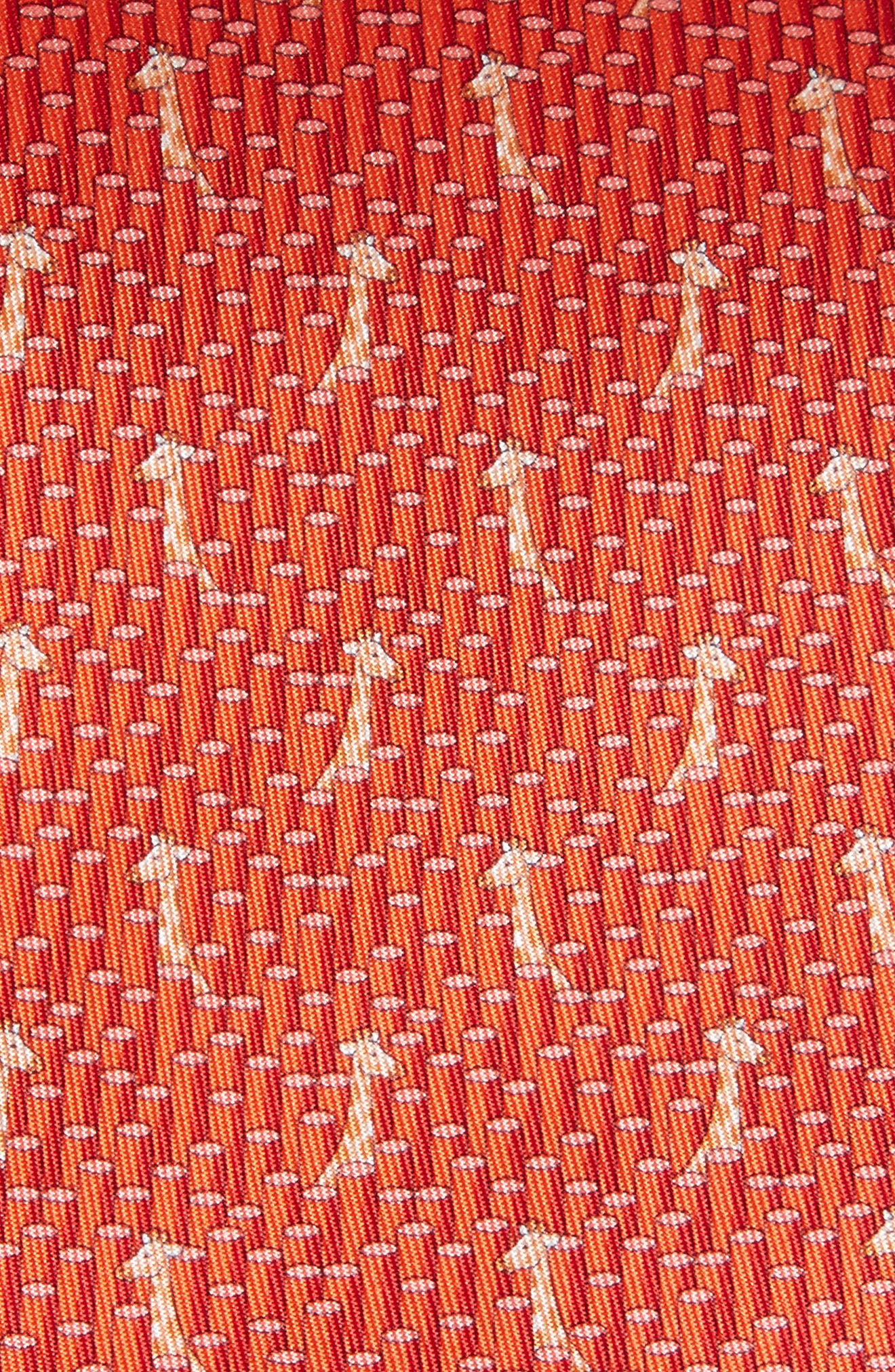 Giraffe Print Silk Tie,                             Alternate thumbnail 2, color,                             Red