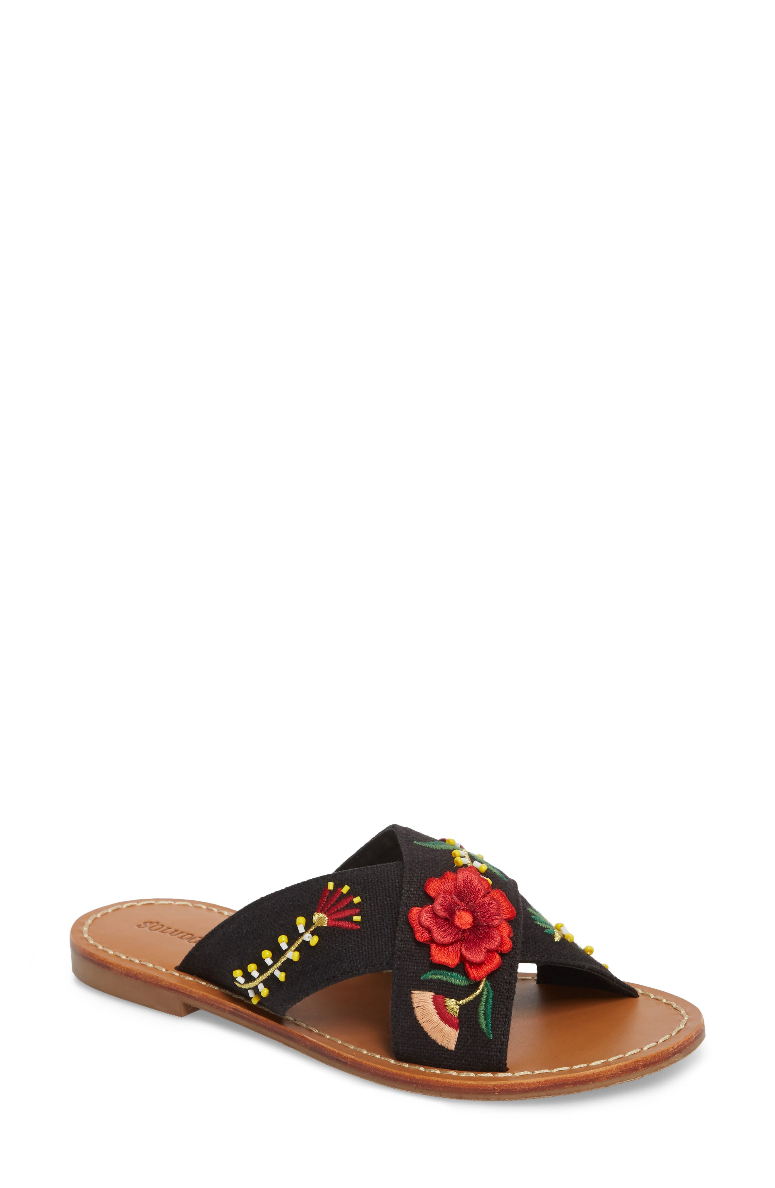 Embellished Floral Sandal,                             Main thumbnail 1, color,                             Black