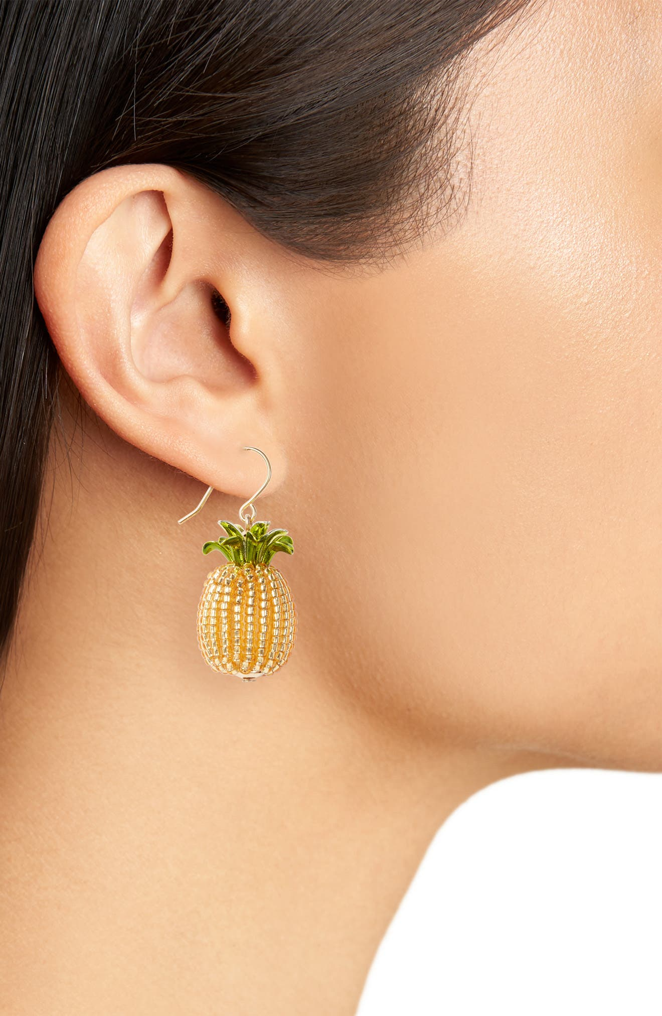 by the pool pineapple drop earrings,                             Alternate thumbnail 2, color,                             Gold Multi