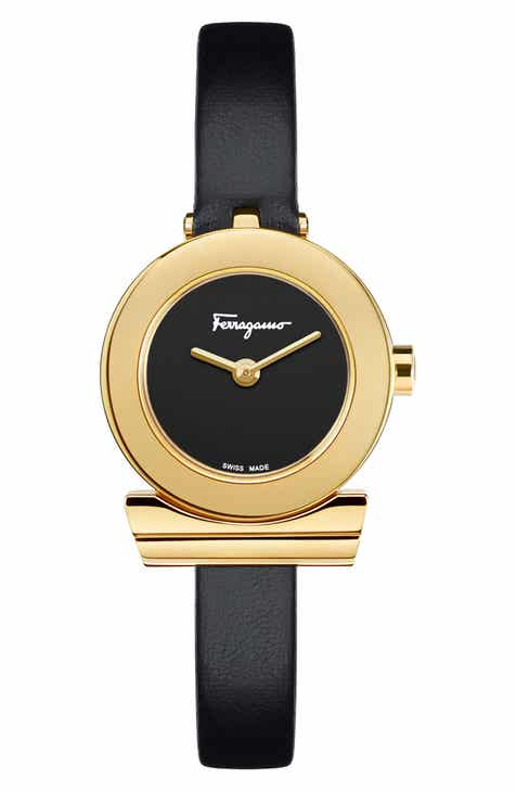 acbb24cf05e9a Salvatore Ferragamo Gancino Leather Strap Watch, 22mm
