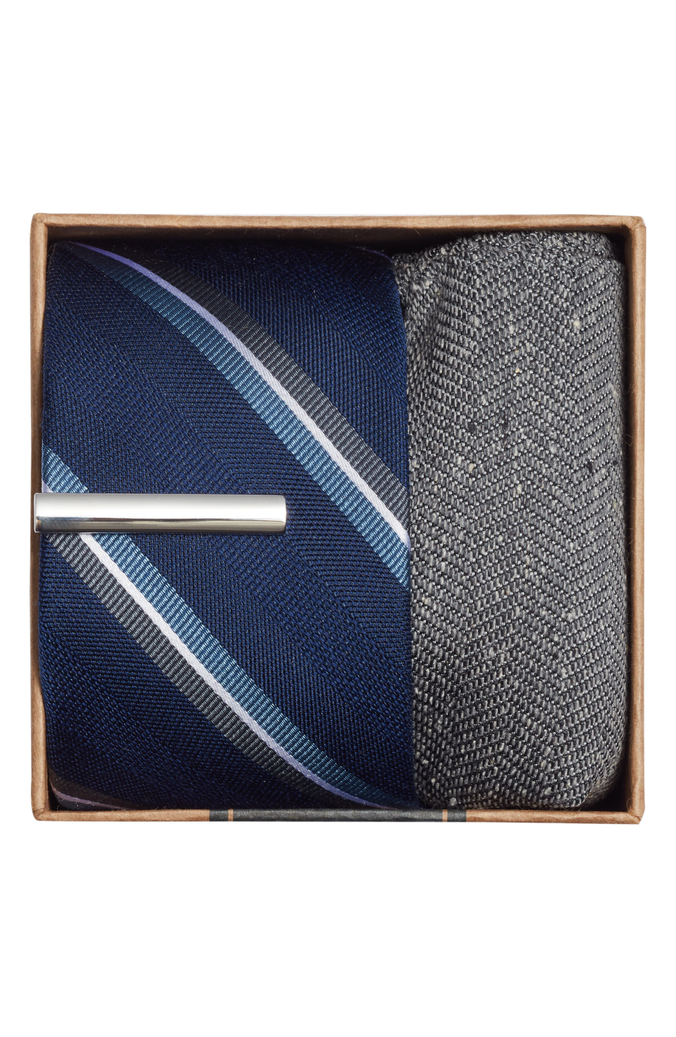 Short Cut Stripe 3-Piece Skinny Tie Style Box,                             Alternate thumbnail 2, color,                             Navy