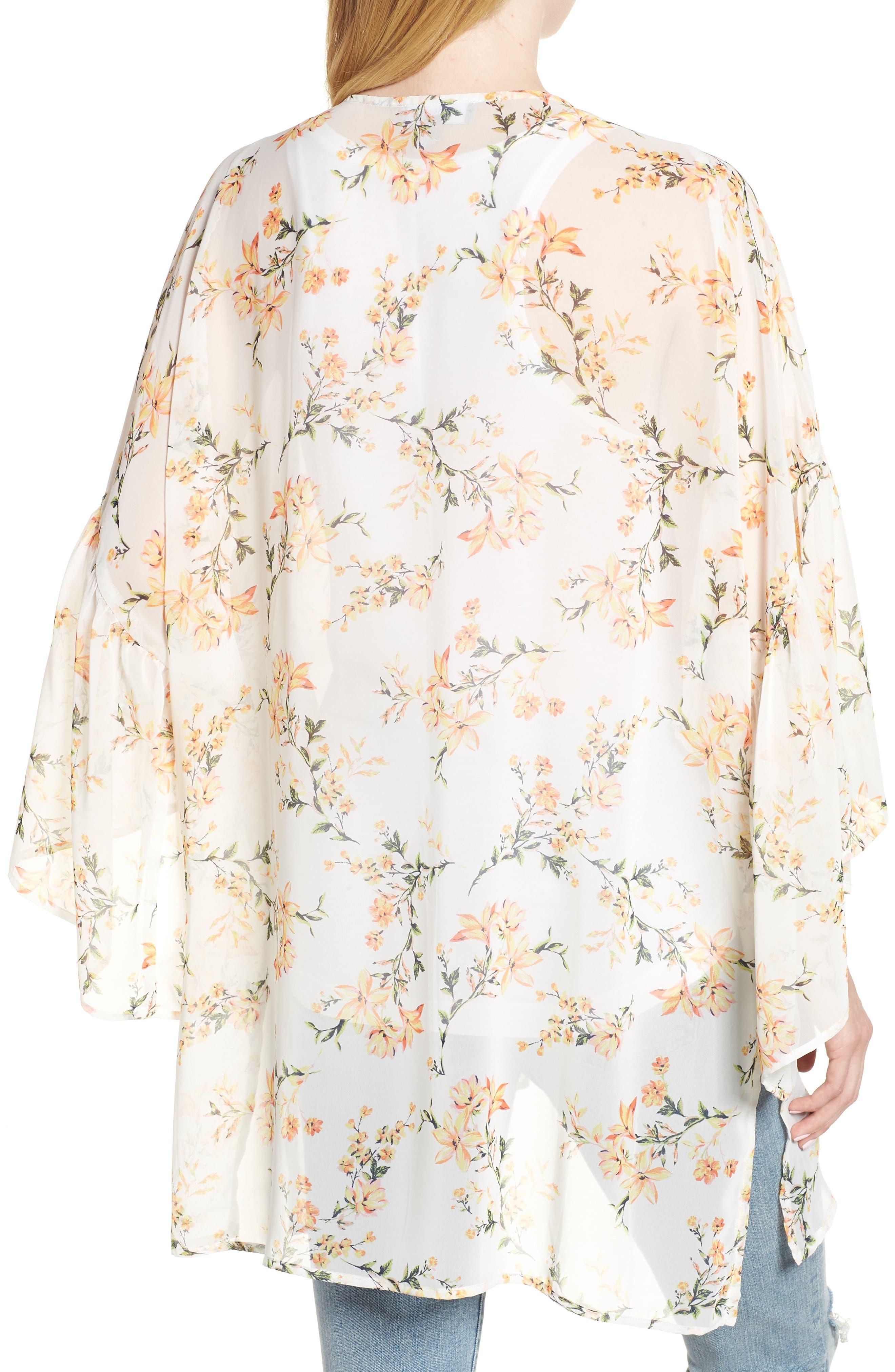 Floral Print Ruffle Sleeve Kimono,                             Alternate thumbnail 2, color,                             Yellow Combo