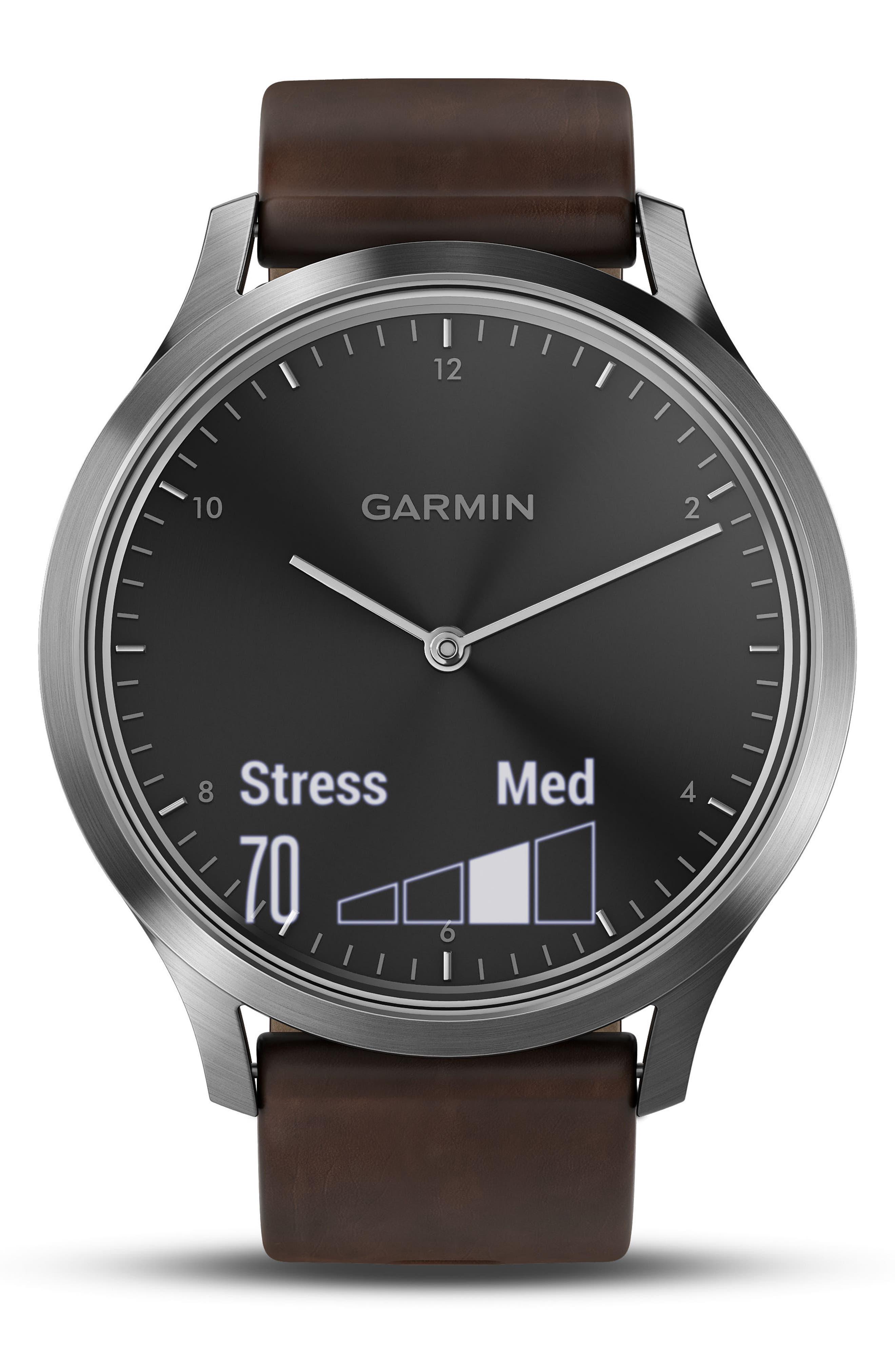 Vivomove HR Hybrid Smart Watch,                             Alternate thumbnail 4, color,                             Brown/ Black/ Silver