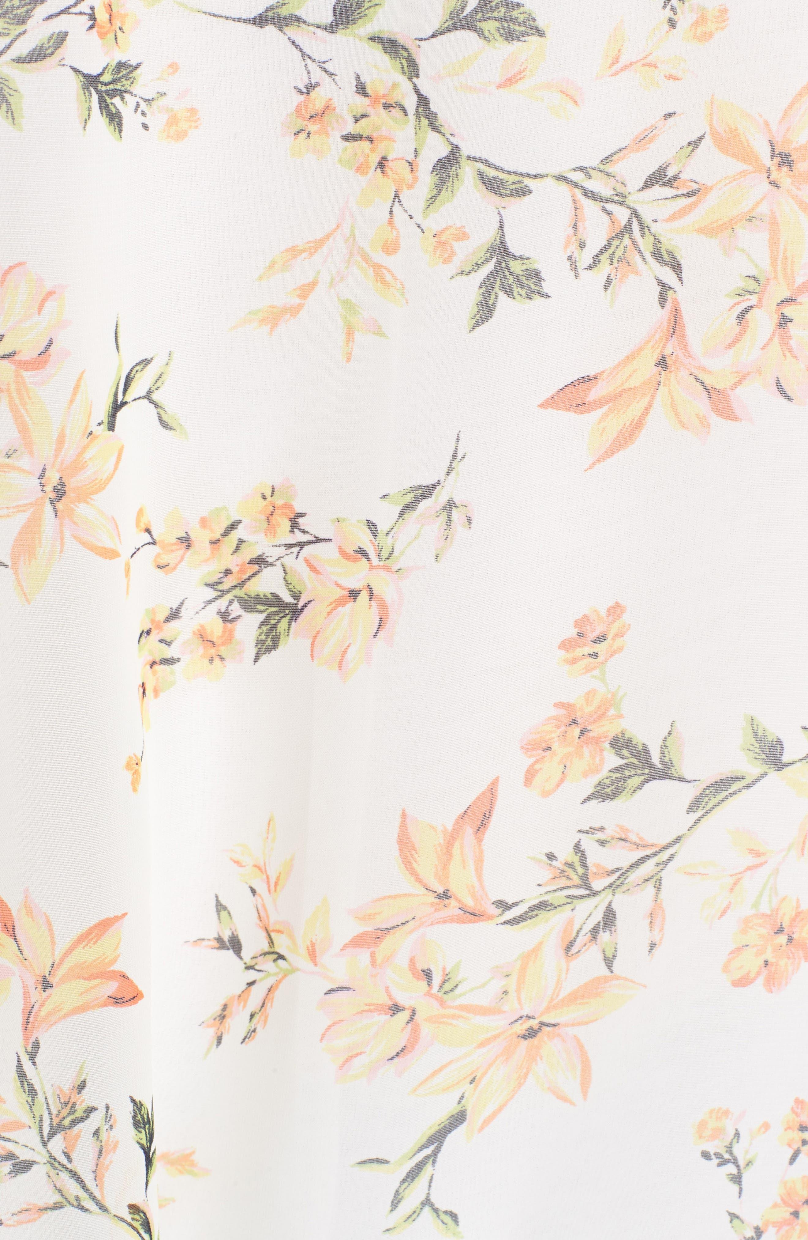 Floral Print Ruffle Sleeve Kimono,                             Alternate thumbnail 5, color,                             Yellow Combo
