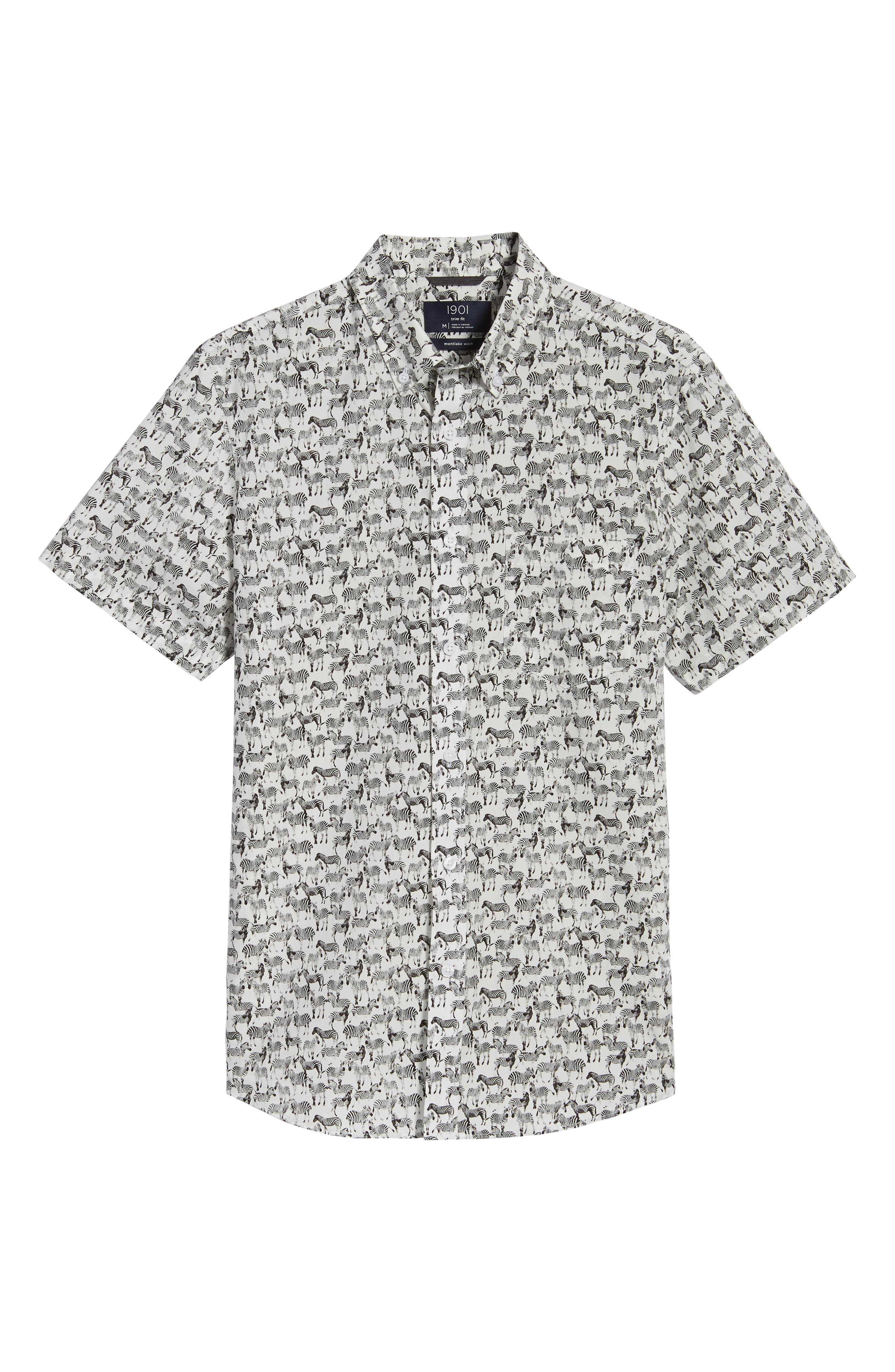 Trim Fit Print Short Sleeve Sport Shirt,                             Alternate thumbnail 6, color,                             Black White Zebras