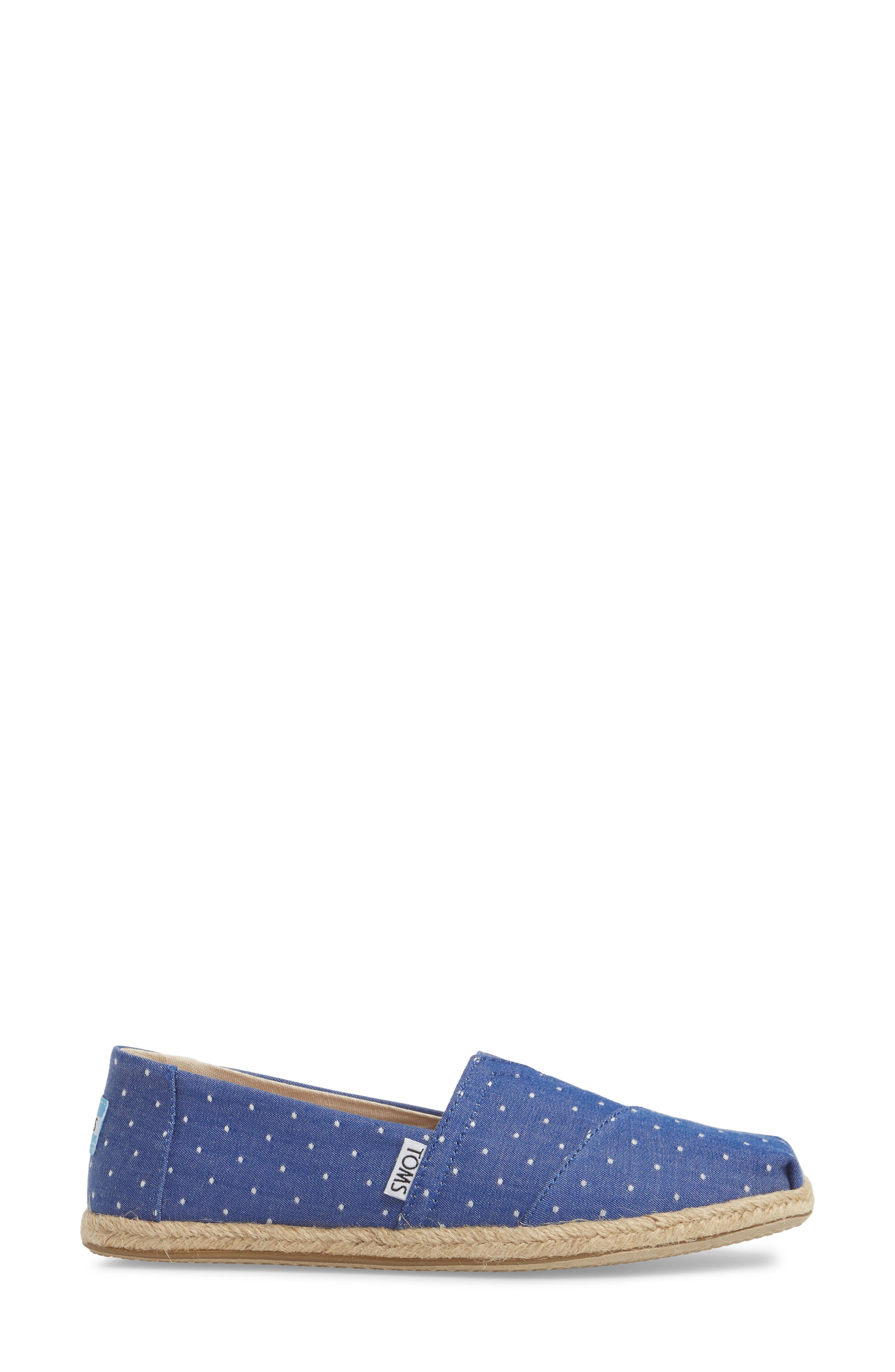 Deconstructed Alpargata Slip-On,                             Alternate thumbnail 3, color,                             Blue Dot Fabric