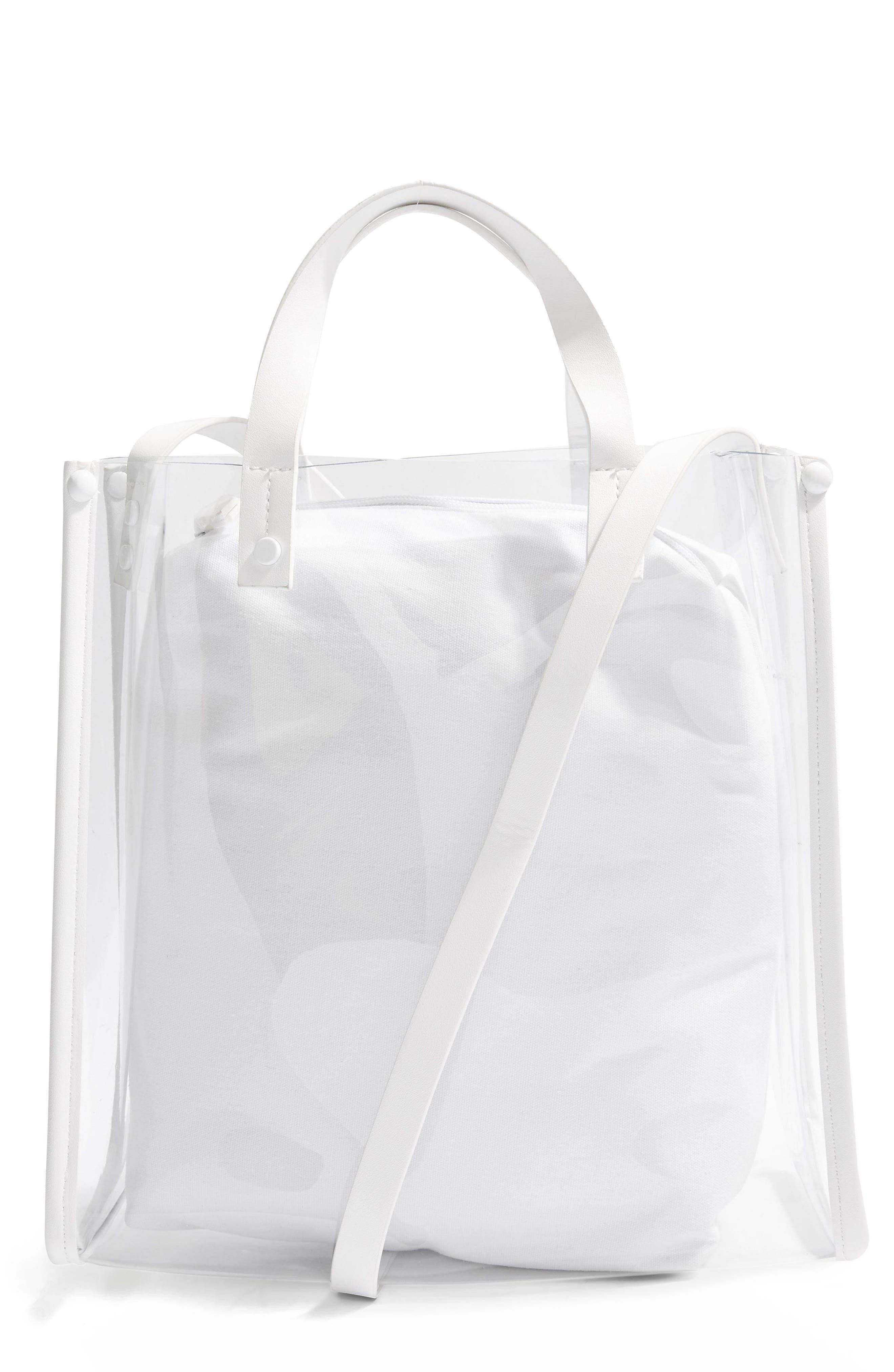 Penny Perspex Shopper Tote,                         Main,                         color, White