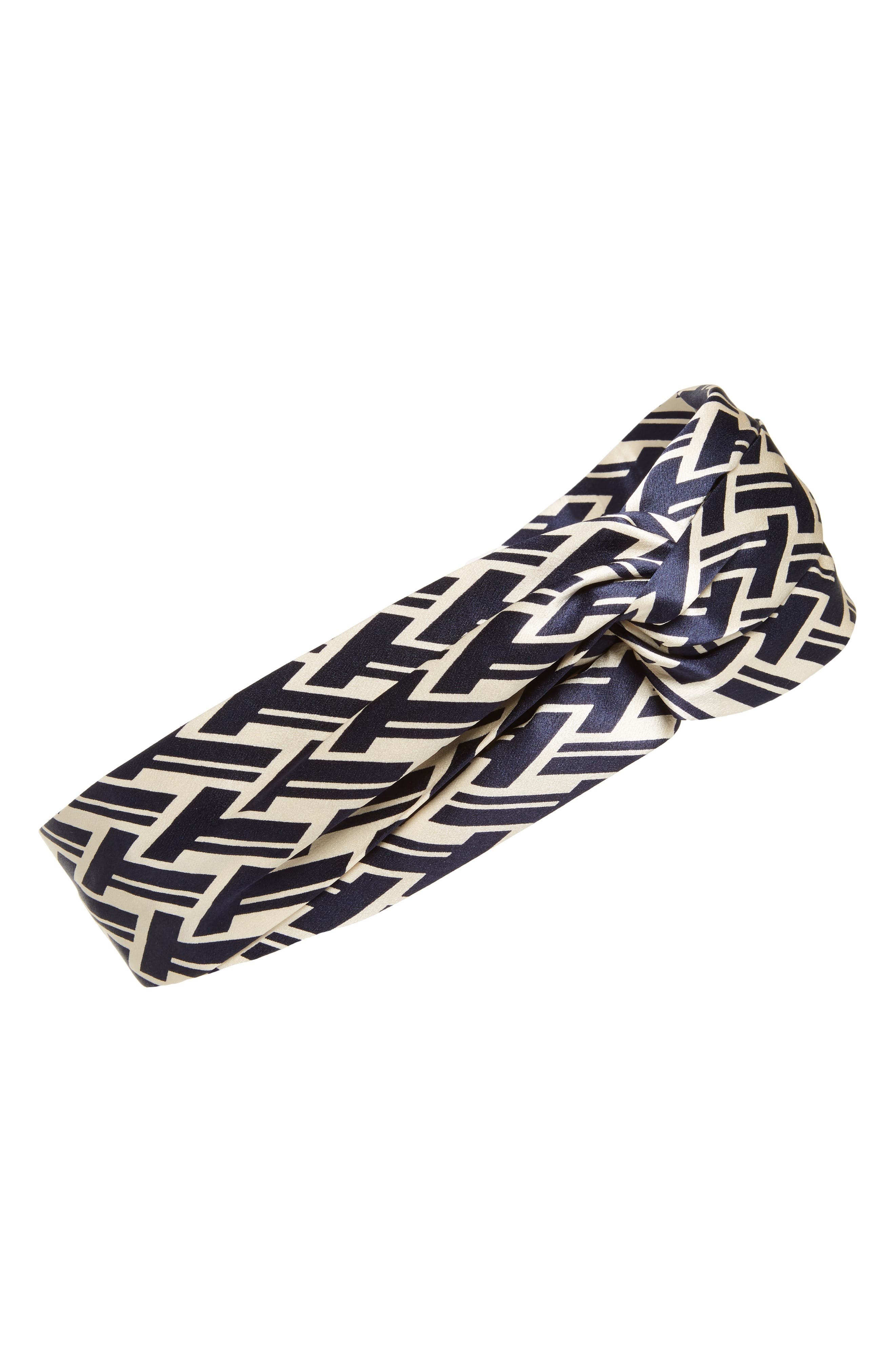 T Lattice Silk Head Wrap,                         Main,                         color, Navy T Lattice