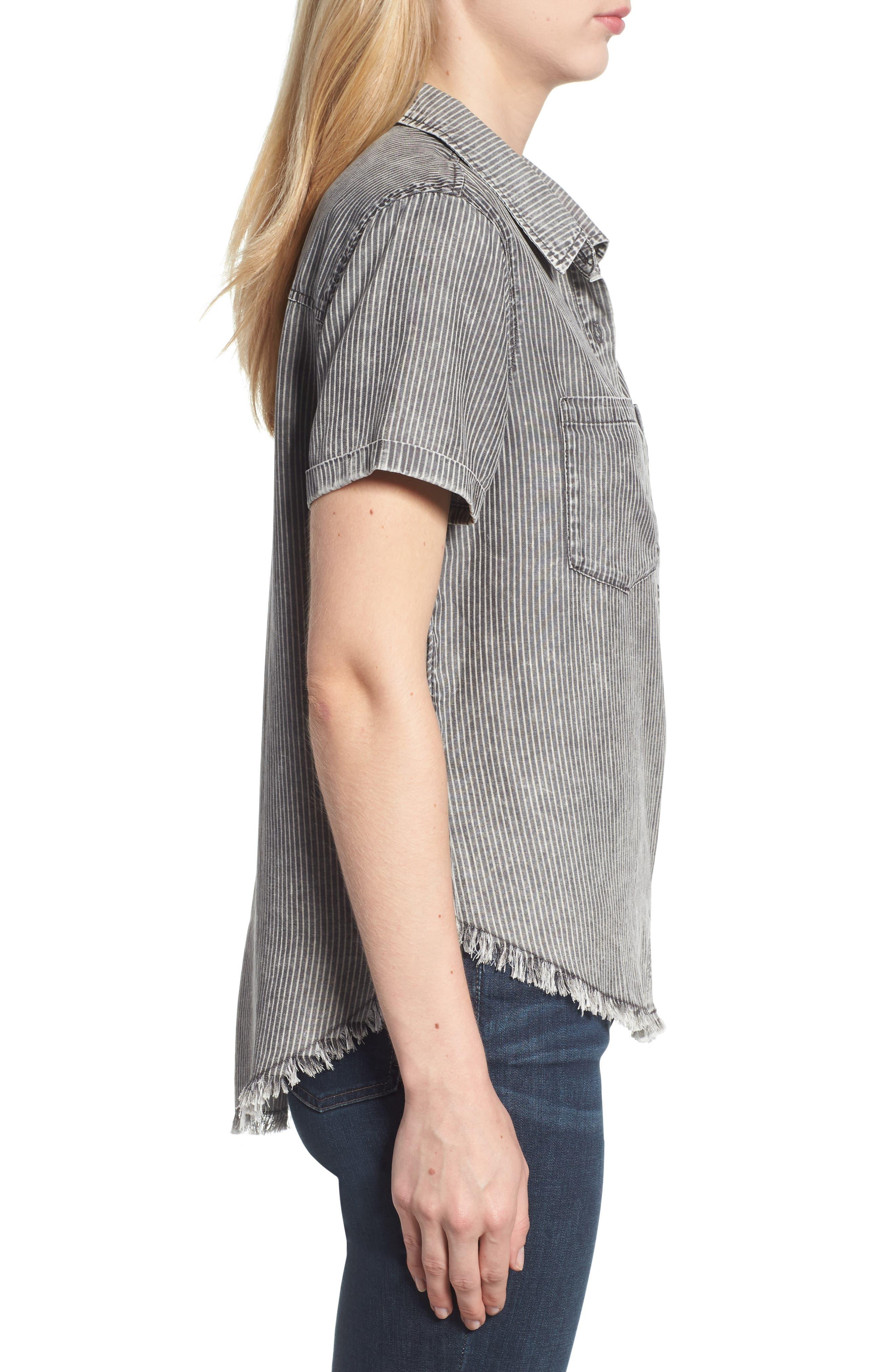 Ticking Stripe Shirt,                             Alternate thumbnail 3, color,                             Grey Rr