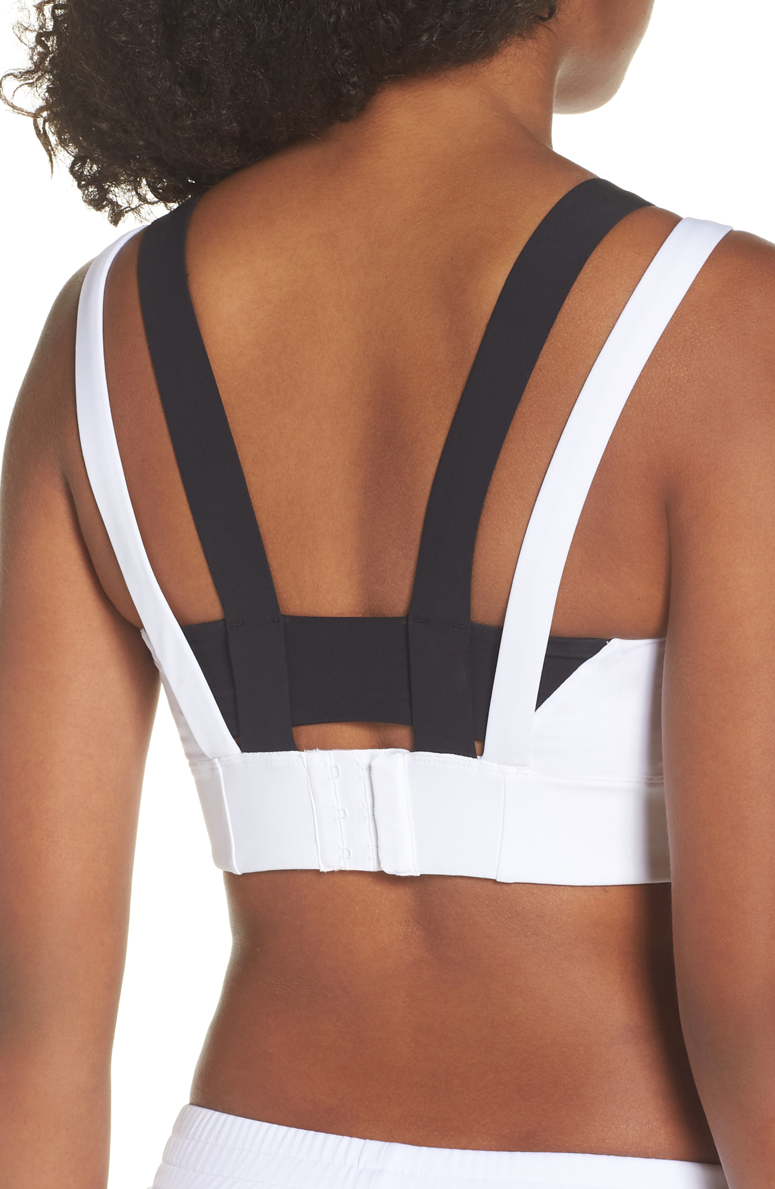 BoomBoom Athletica Compression Support Sports Bra,                             Alternate thumbnail 2, color,                             White/ Red