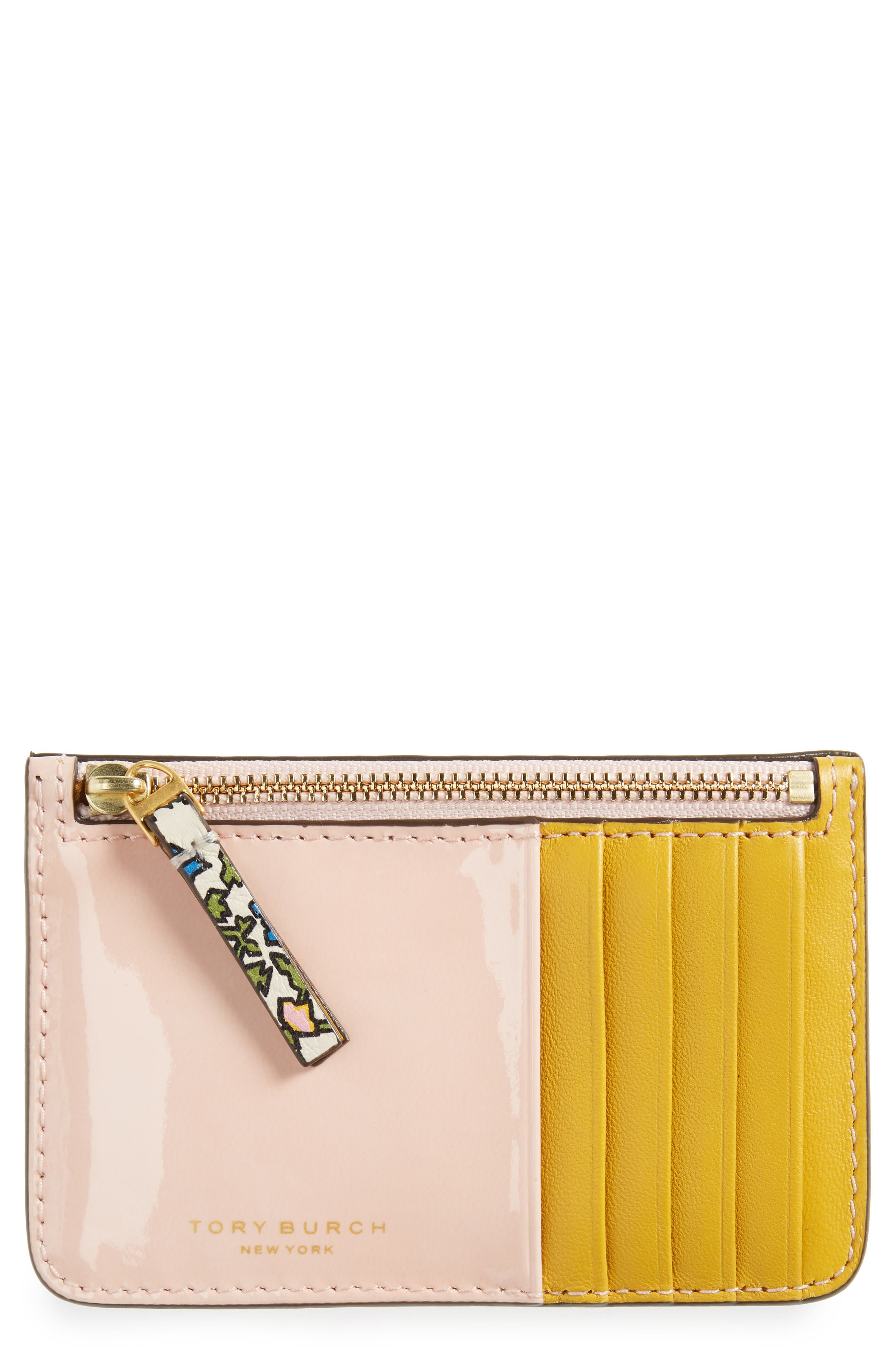 Colorblock Leather Card Case,                             Main thumbnail 1, color,                             Ivory Wild Pansy
