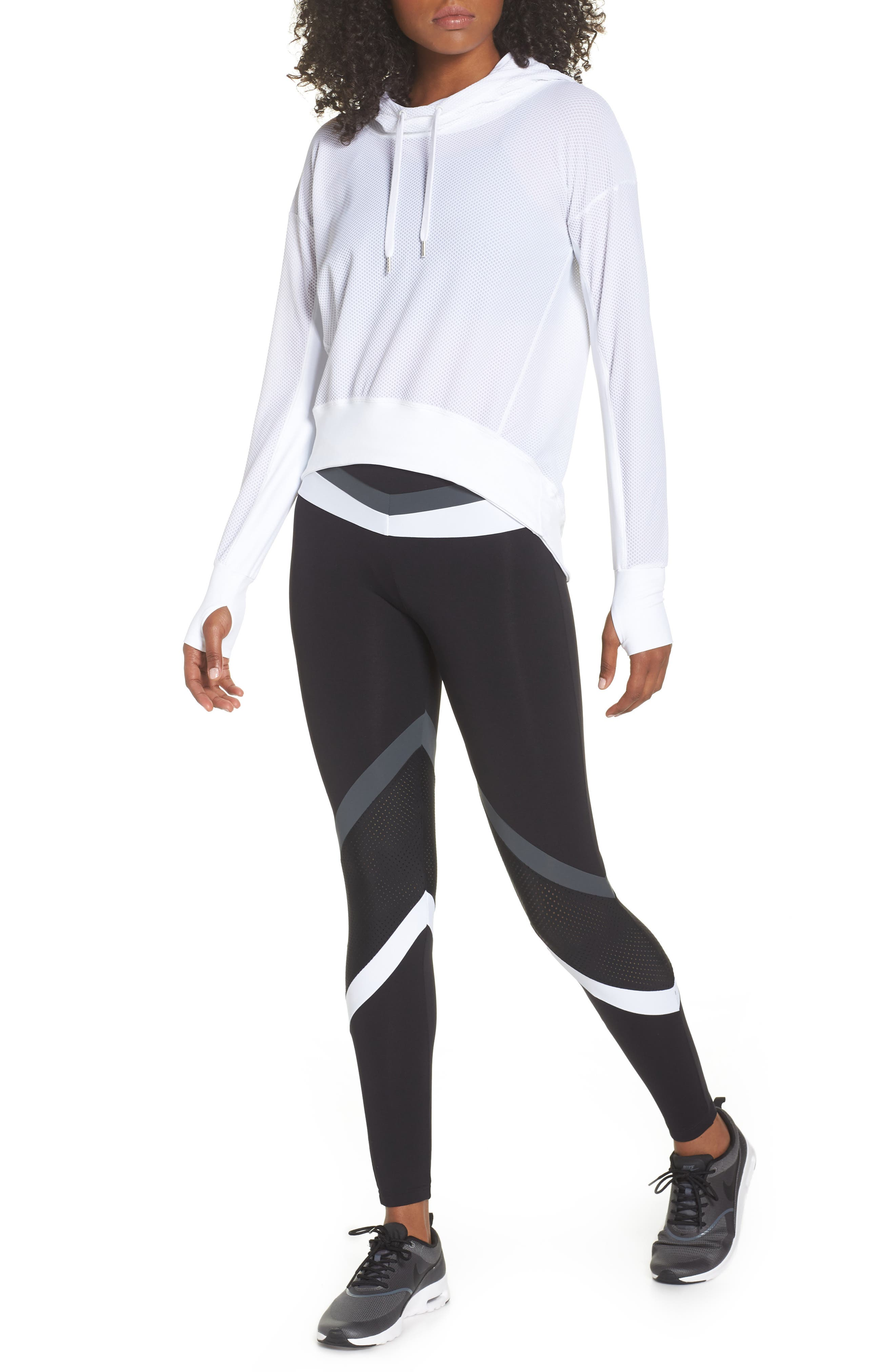 BoomBoom Athletica Bubble Mesh Hoodie,                             Alternate thumbnail 8, color,                             White