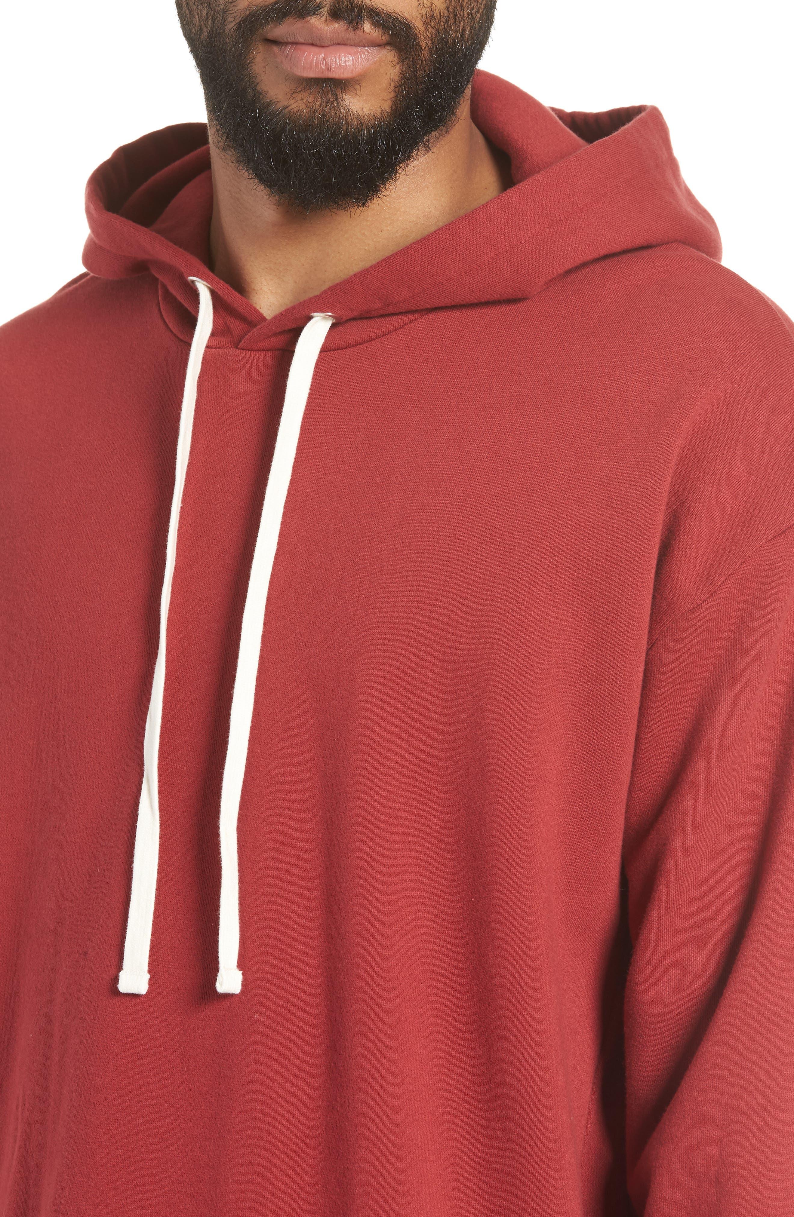 Rugger Hooded Sweatshirt,                             Alternate thumbnail 3, color,                             Dark Cherry
