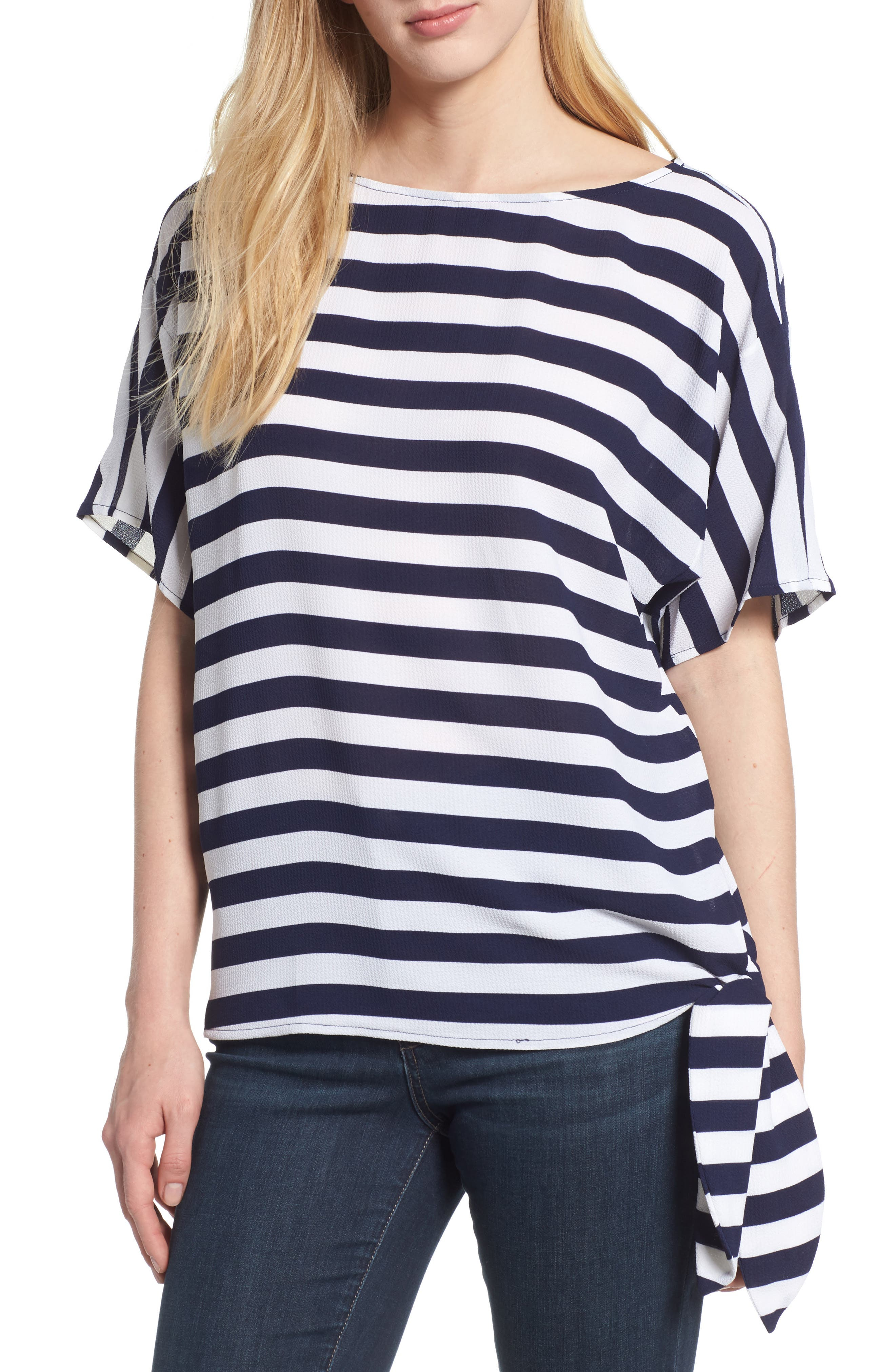 MICHAEL Michael Kors Side Tie Striped Top,                             Main thumbnail 1, color,                             True Navy