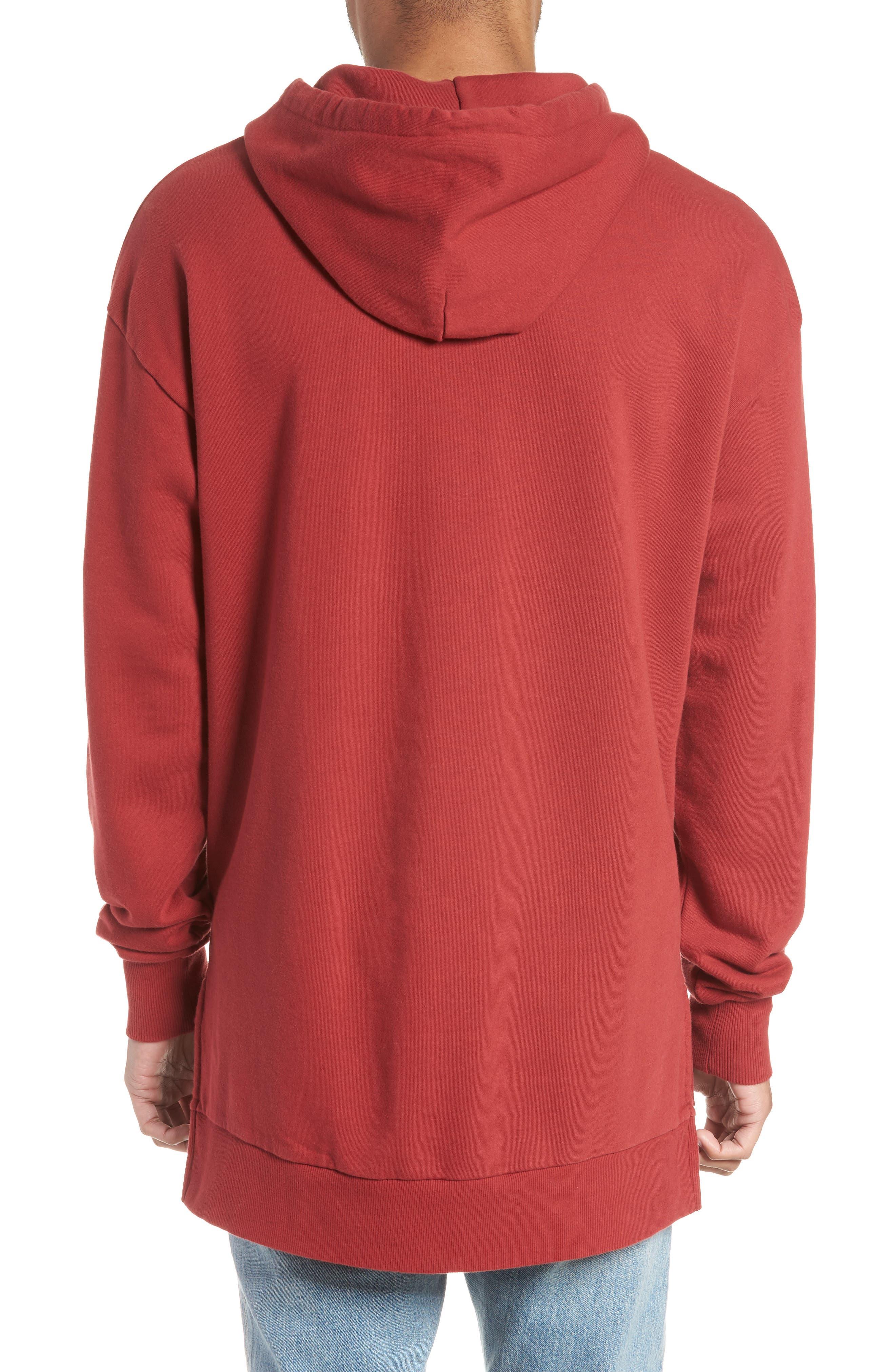 Rugger Hooded Sweatshirt,                             Alternate thumbnail 2, color,                             Dark Cherry