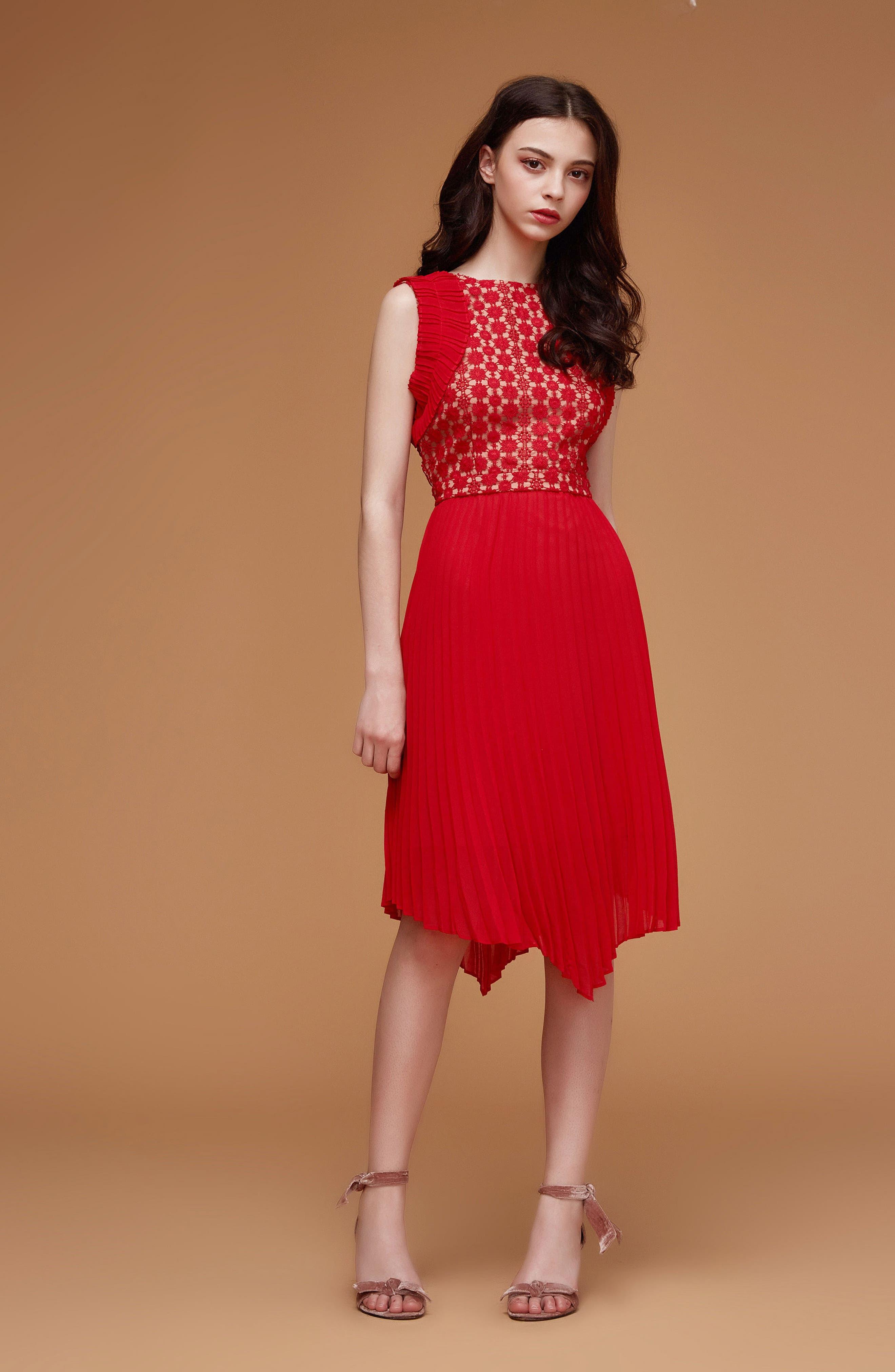 Nealea Pleated Sheath Dress,                             Alternate thumbnail 2, color,                             Red