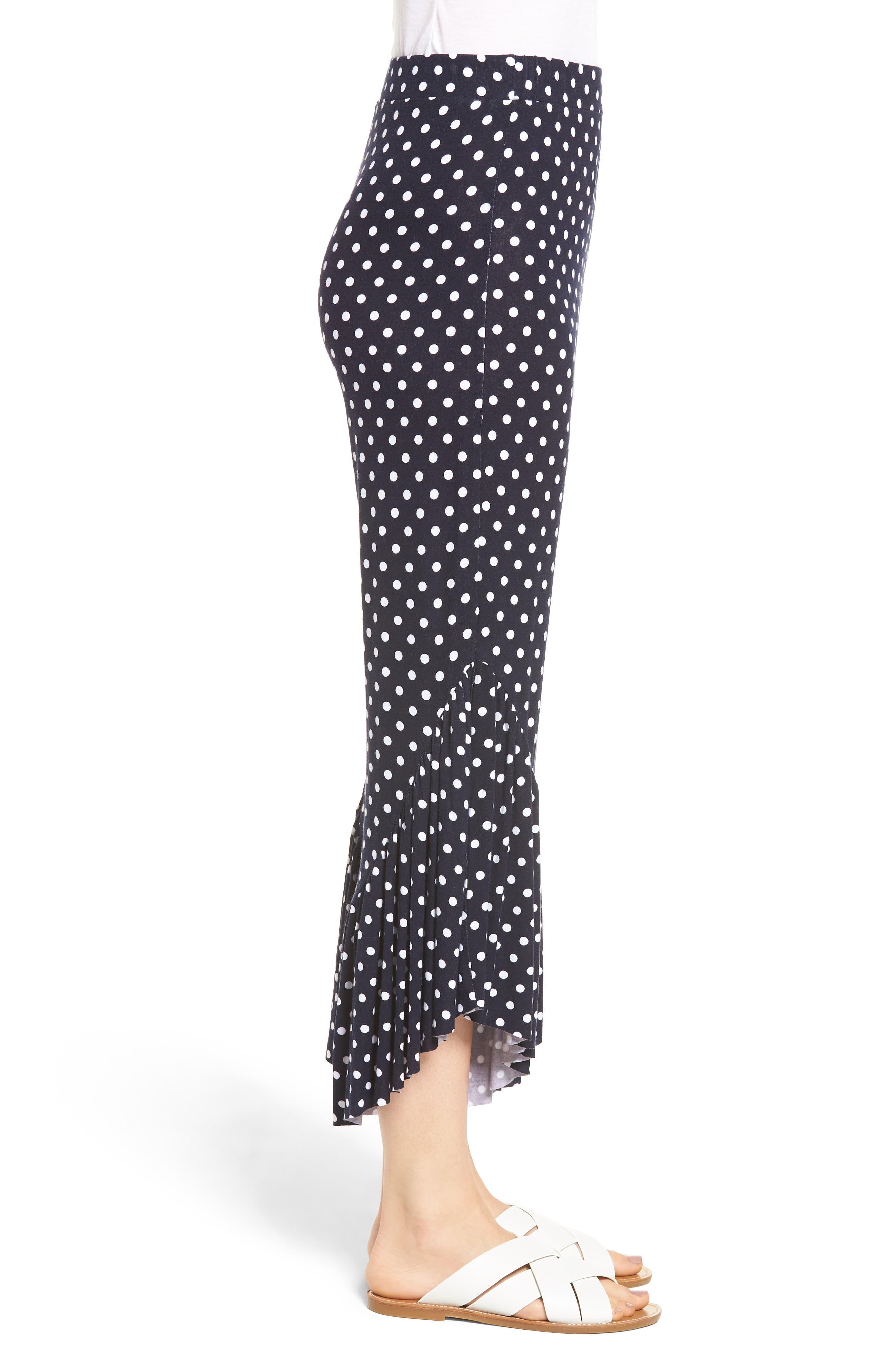 Ruffle Hem Wide Leg Crop Pants,                             Alternate thumbnail 6, color,                             Navy/ White Polka Dot