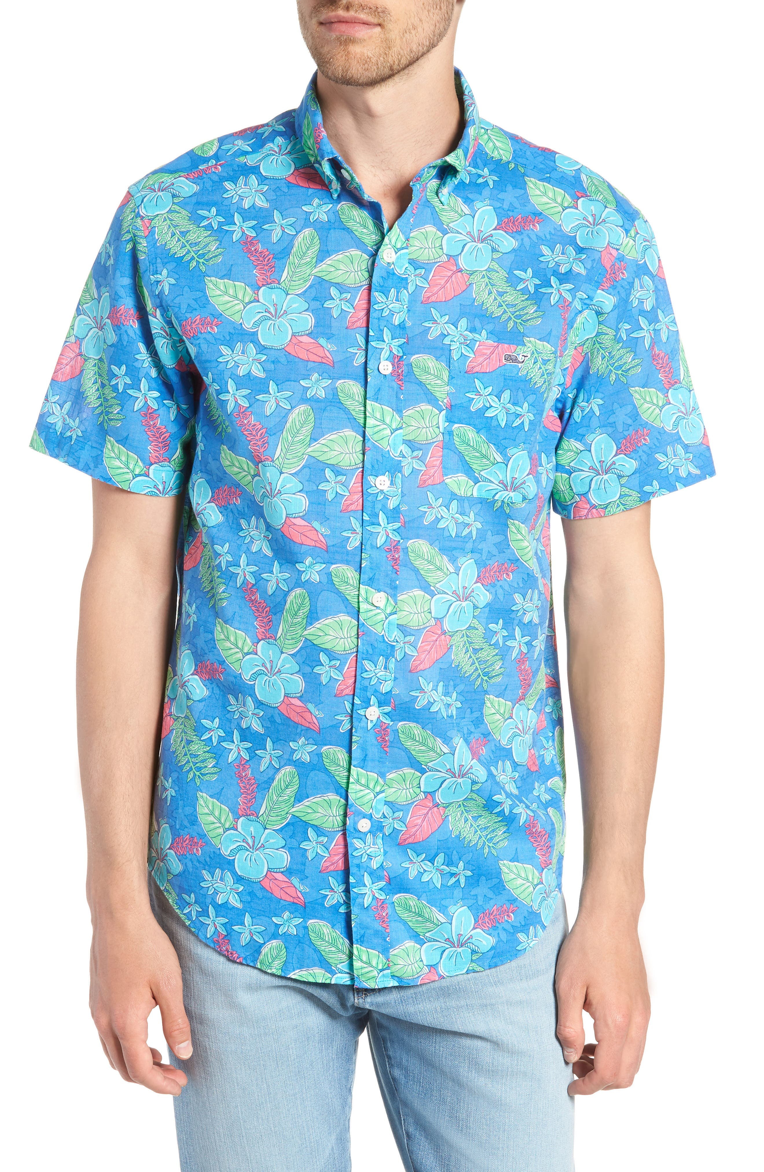 Cay Tucker Classic Fit Floral Sport Shirt,                             Main thumbnail 1, color,                             Hull Blue
