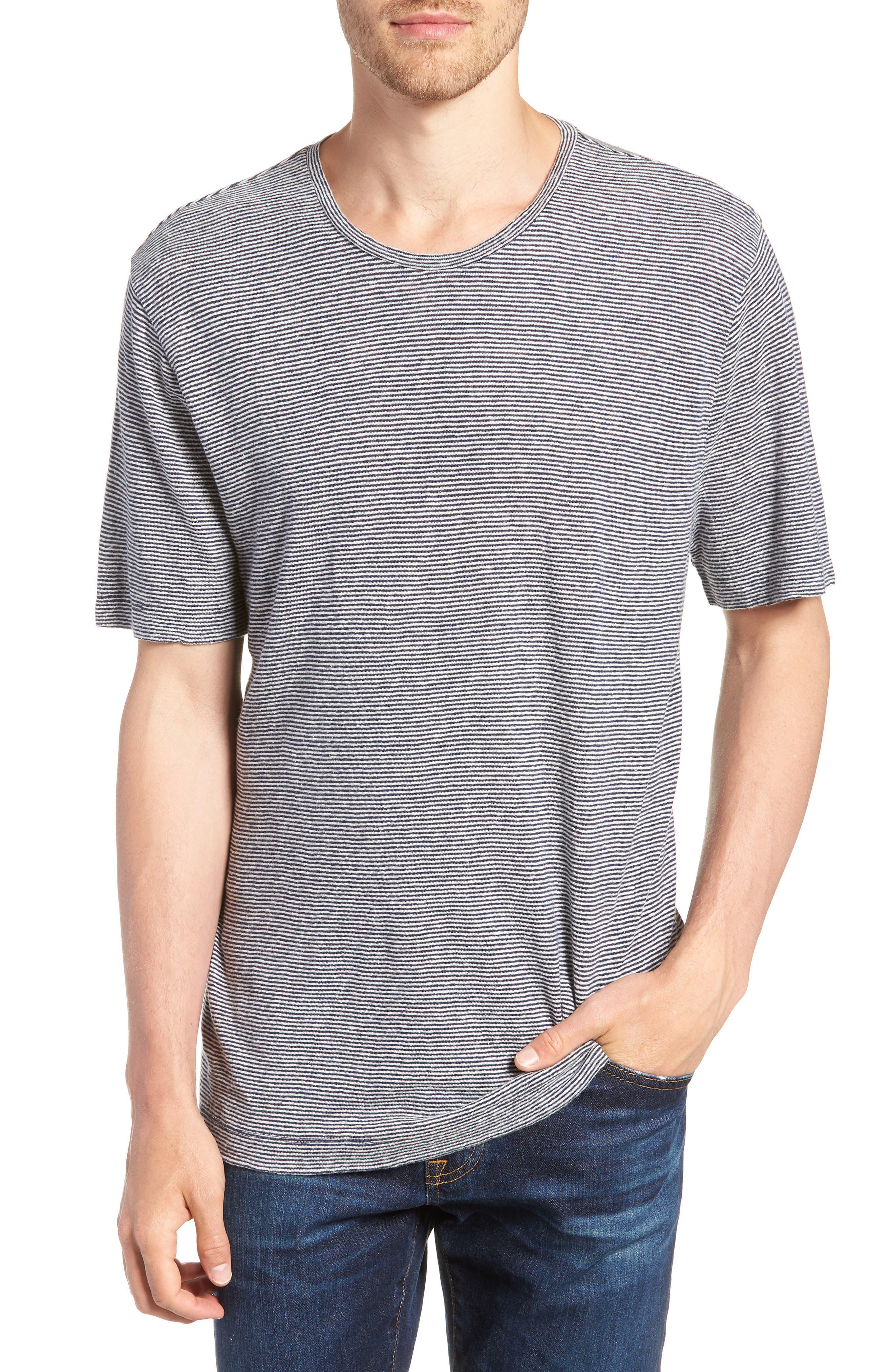 Feeder Stripe Linen Blend Jersey T-Shirt,                         Main,                         color, Navy Iris White Stripe