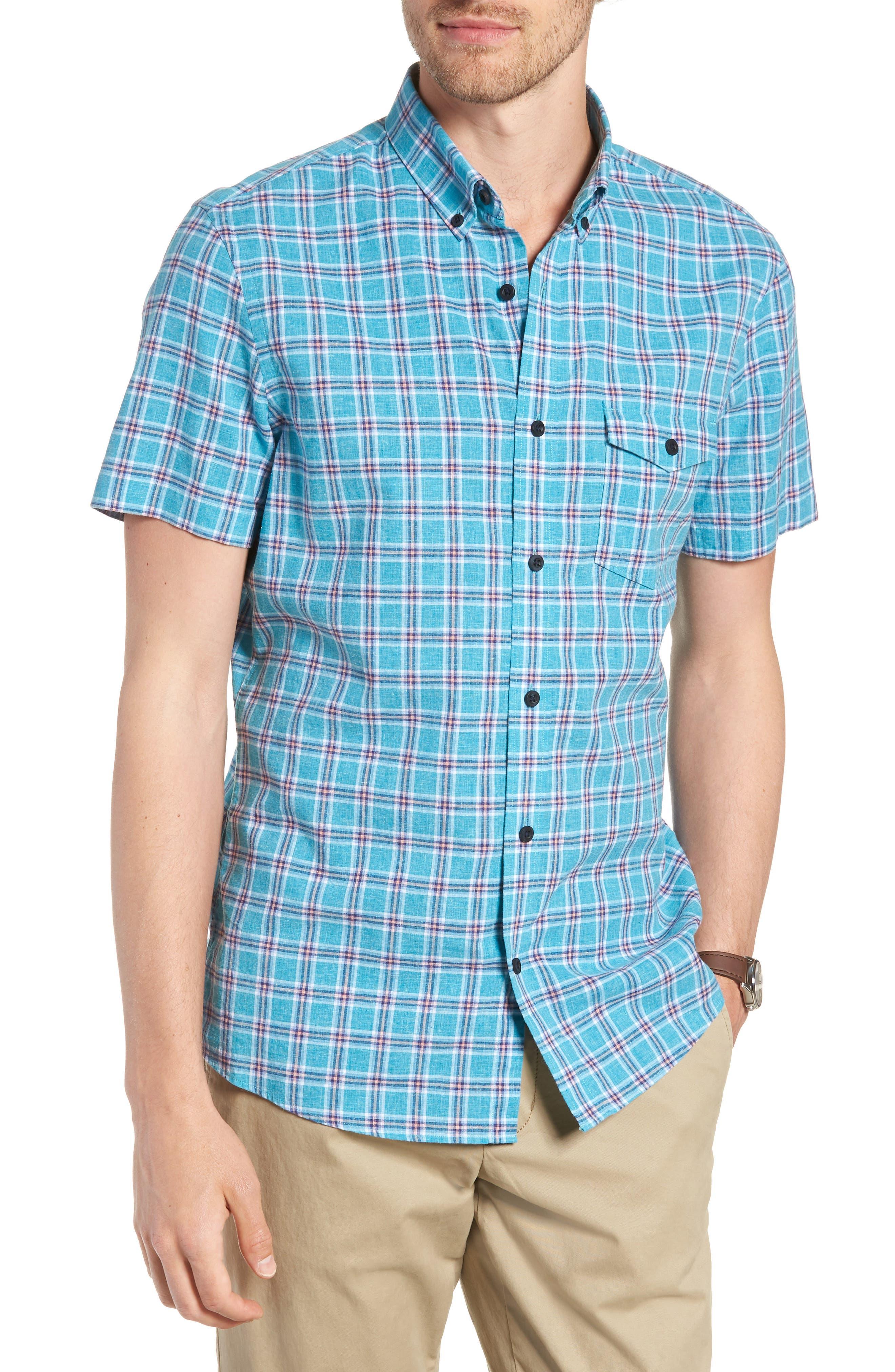 Ivy Trim Fit Plaid Cotton & Linen Sport Shirt,                         Main,                         color, Teal Mosaic Linen Check